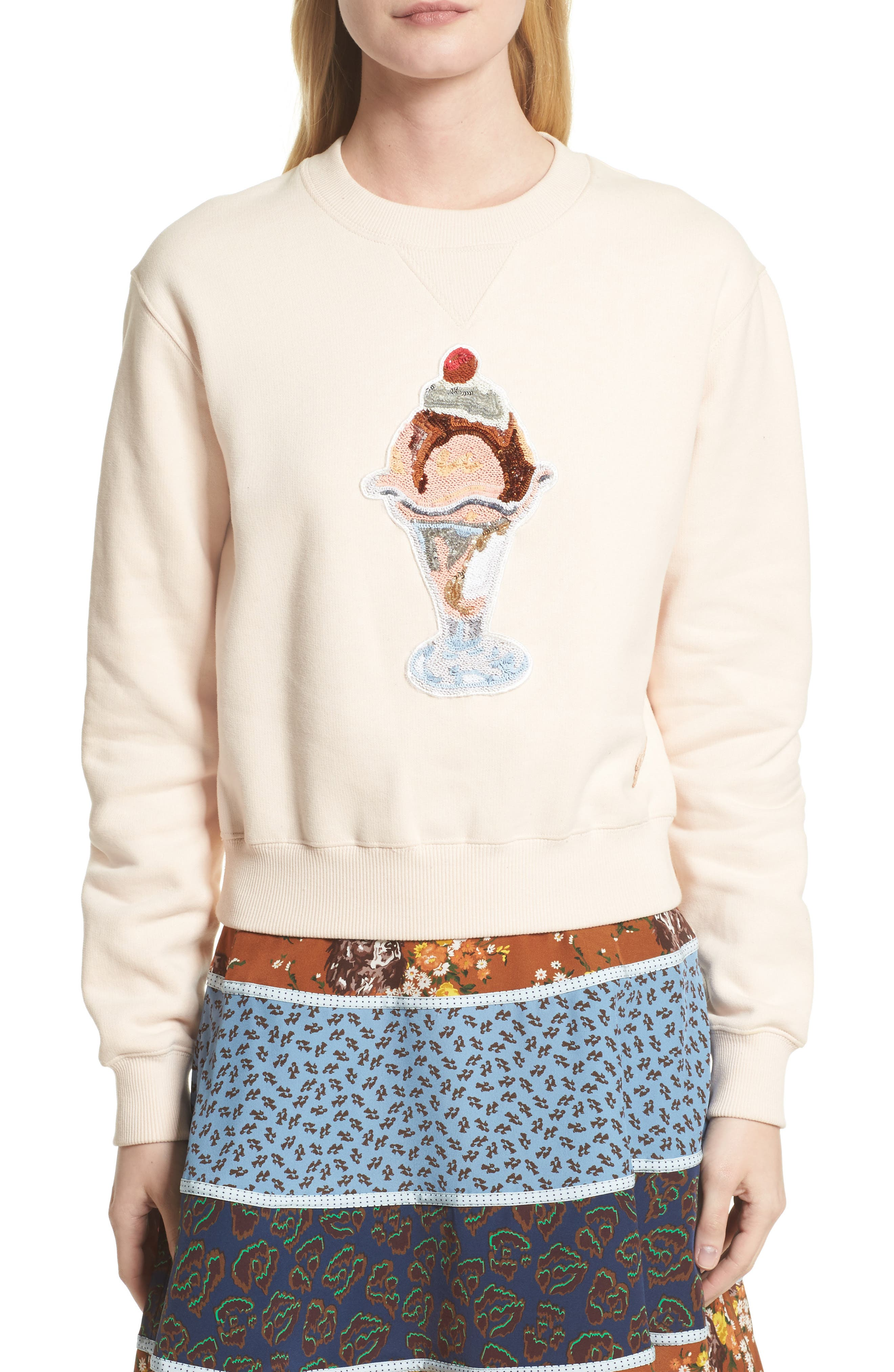 Sequin Sundae Sweatshirt,                             Main thumbnail 1, color,                             Pink