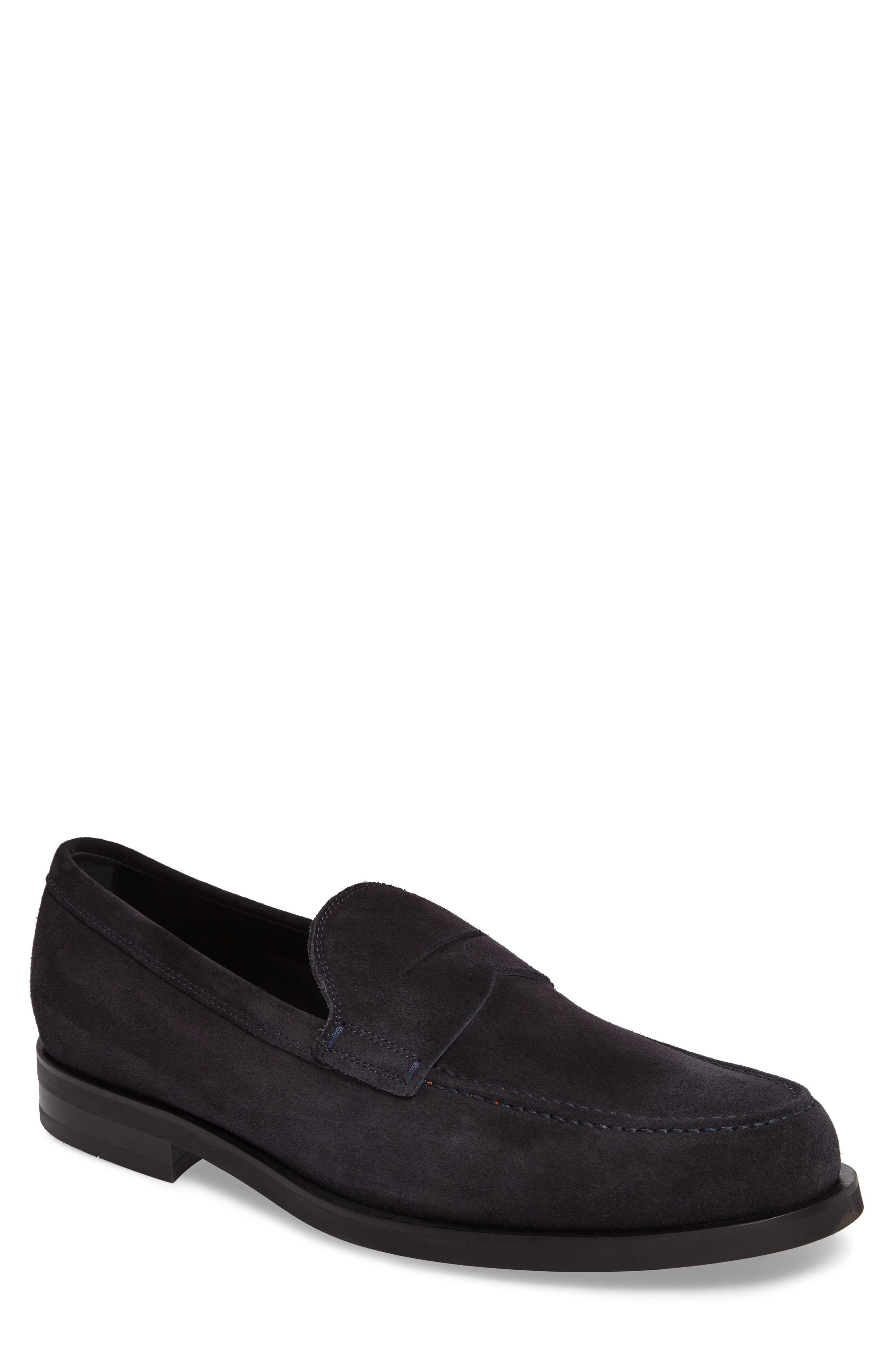 Penny Loafer,                             Main thumbnail 1, color,                             Navy Suede
