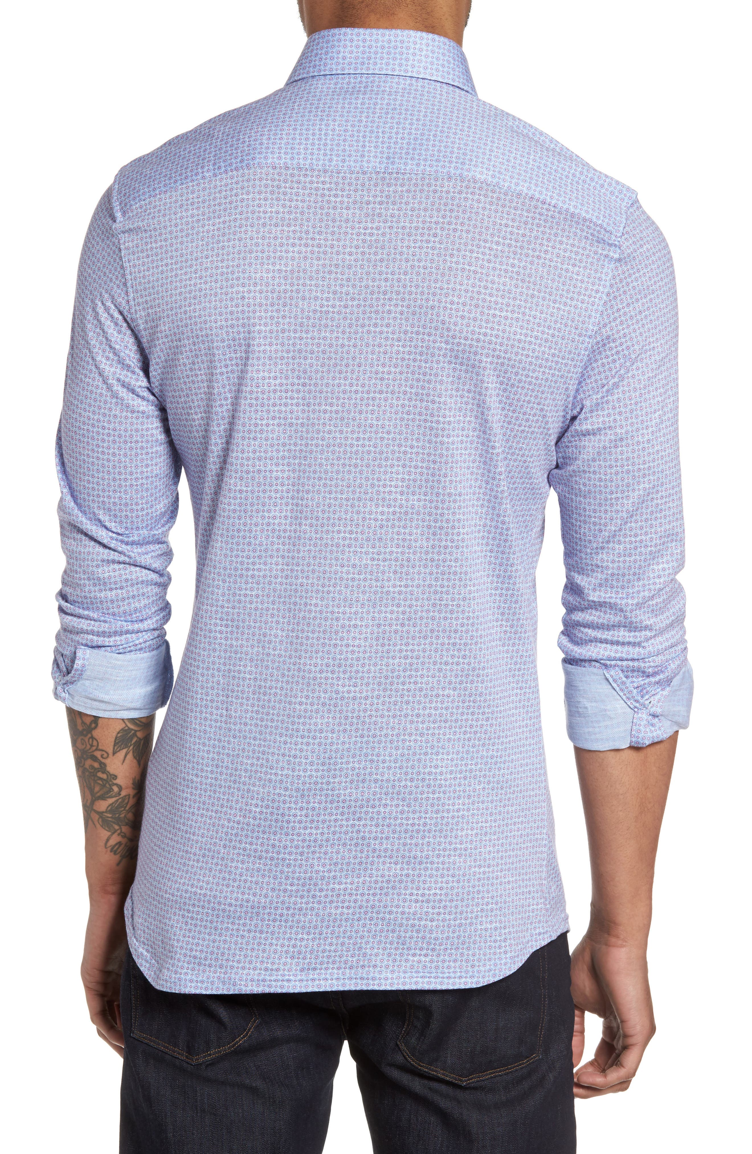 Honeycomb Geo Sport Shirt,                             Alternate thumbnail 2, color,                             Sky Blue