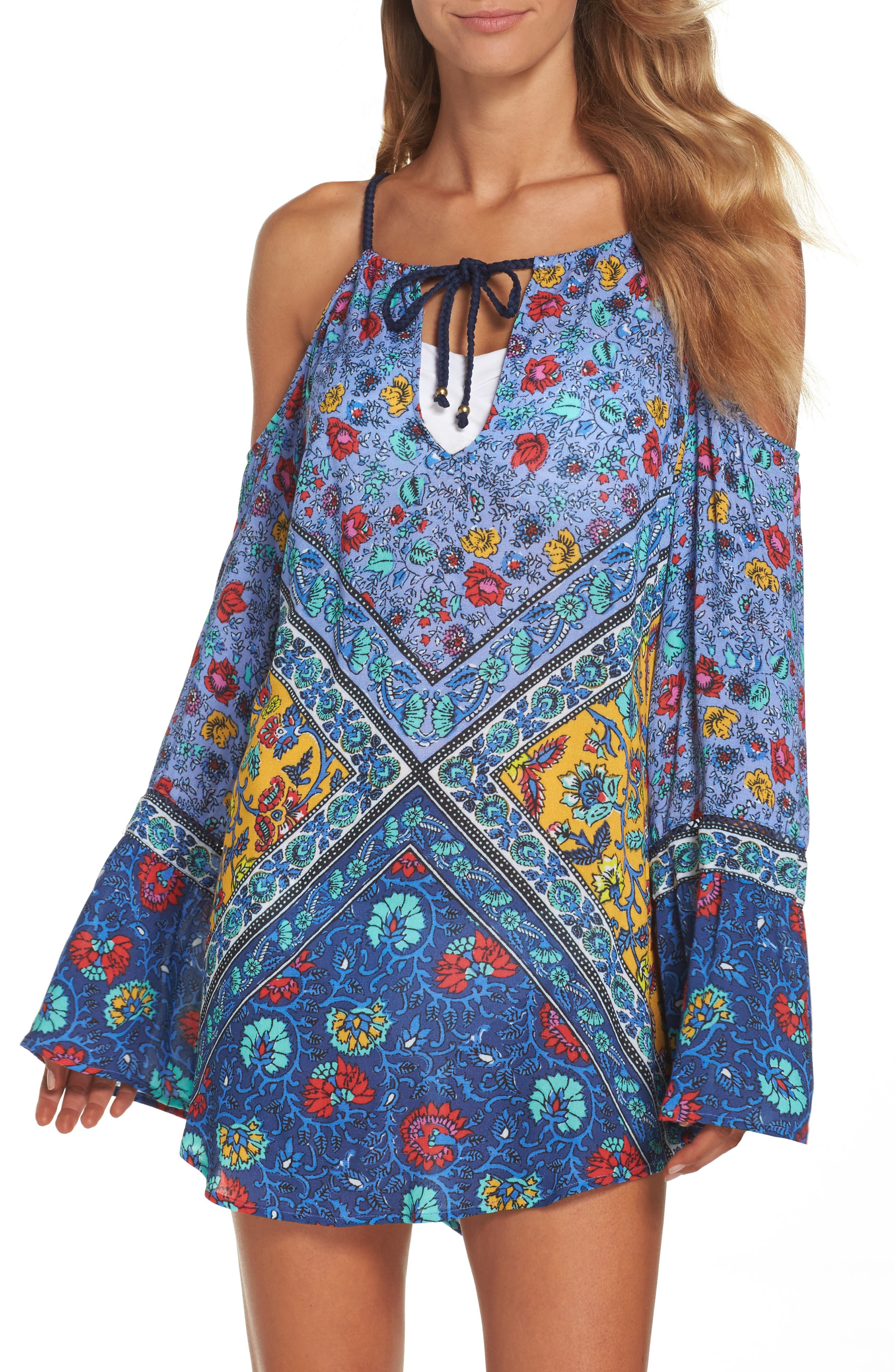 Woodstock Cold Shoulder Cover-Up Tunic,                         Main,                         color, Blue Multi