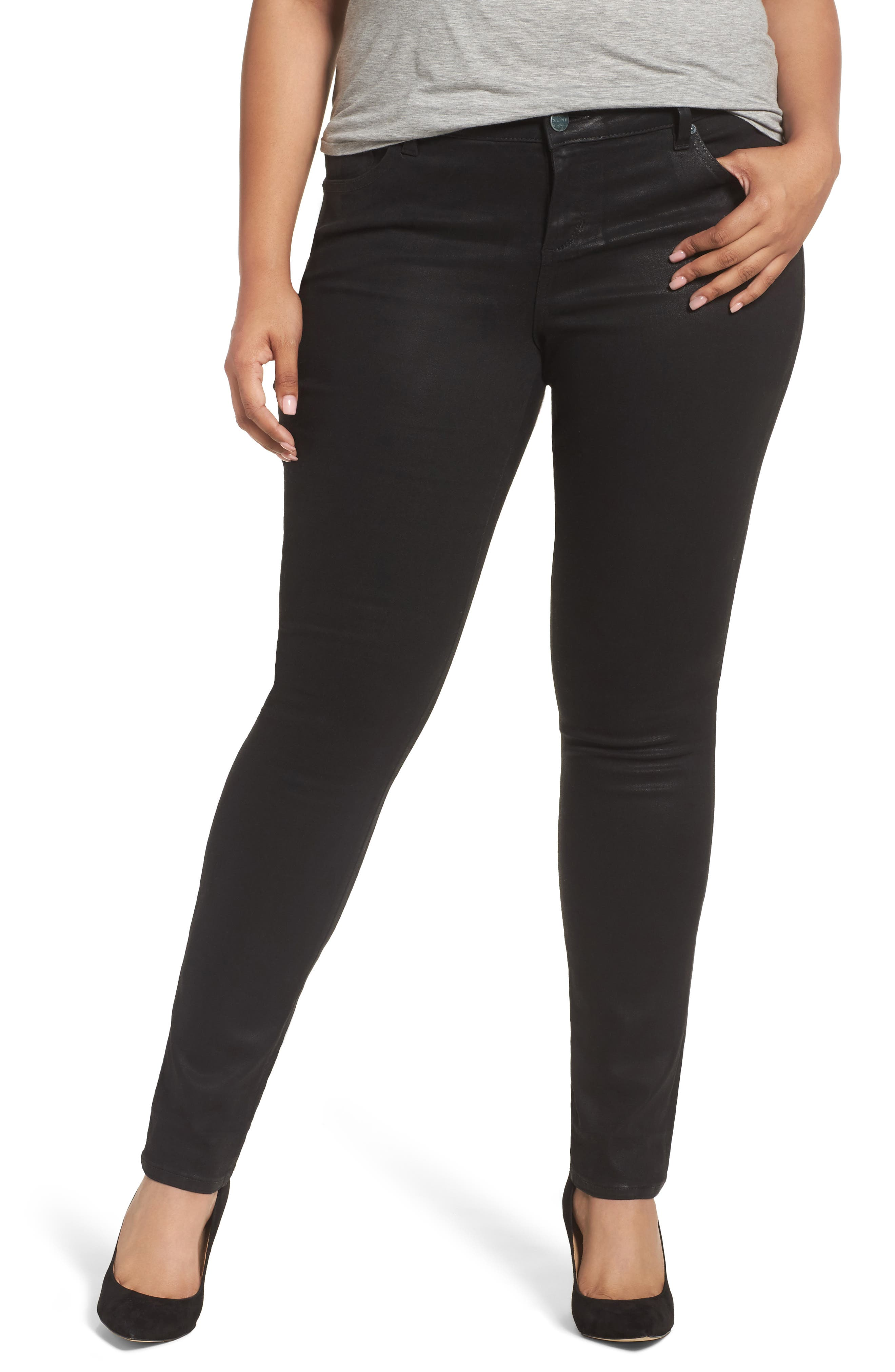 Main Image - SLINK Jeans Coated Skinny Jeans (Plus Size)