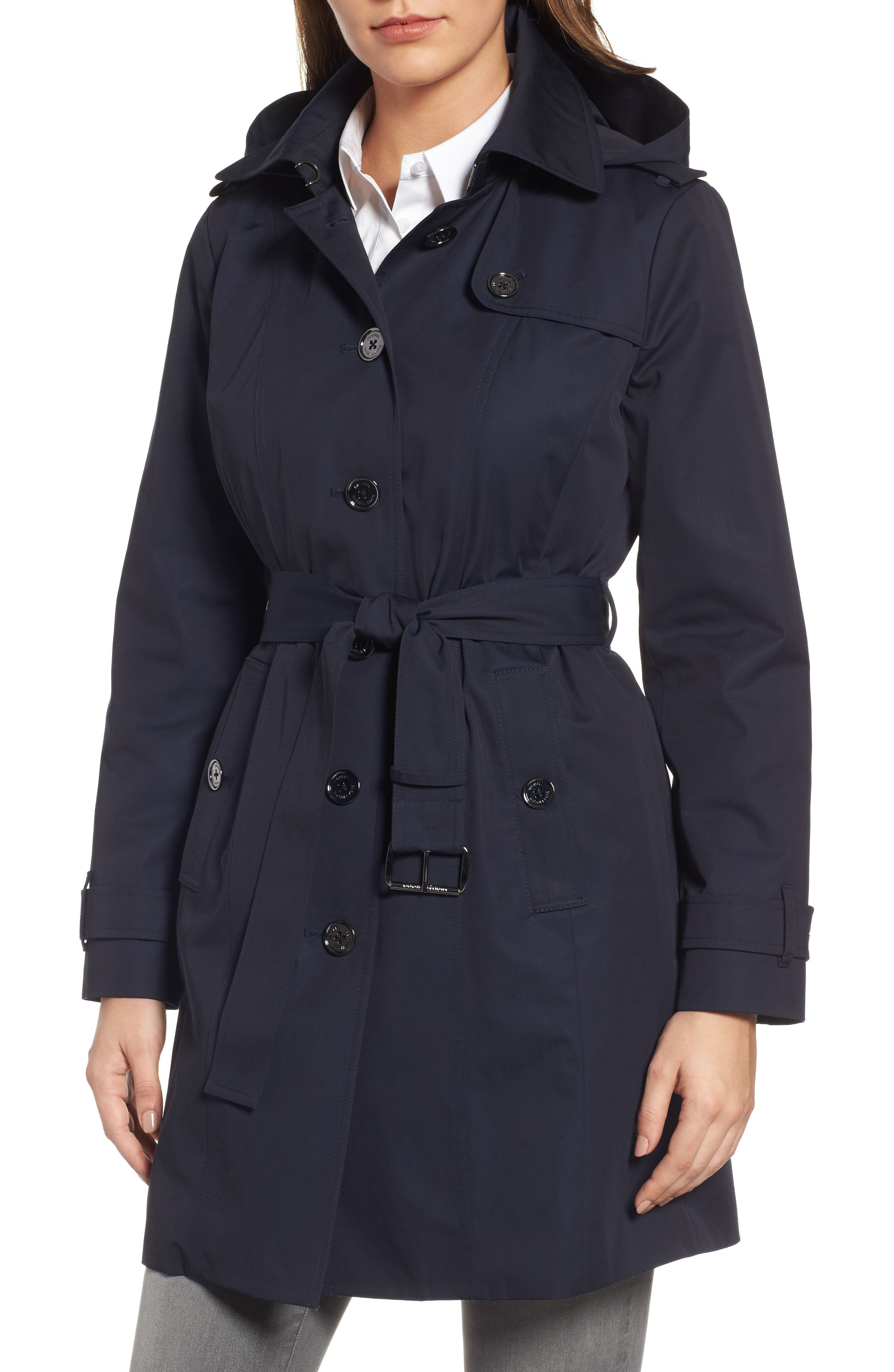 Core Trench Coat with Removable Hood & Liner,                         Main,                         color, Navy