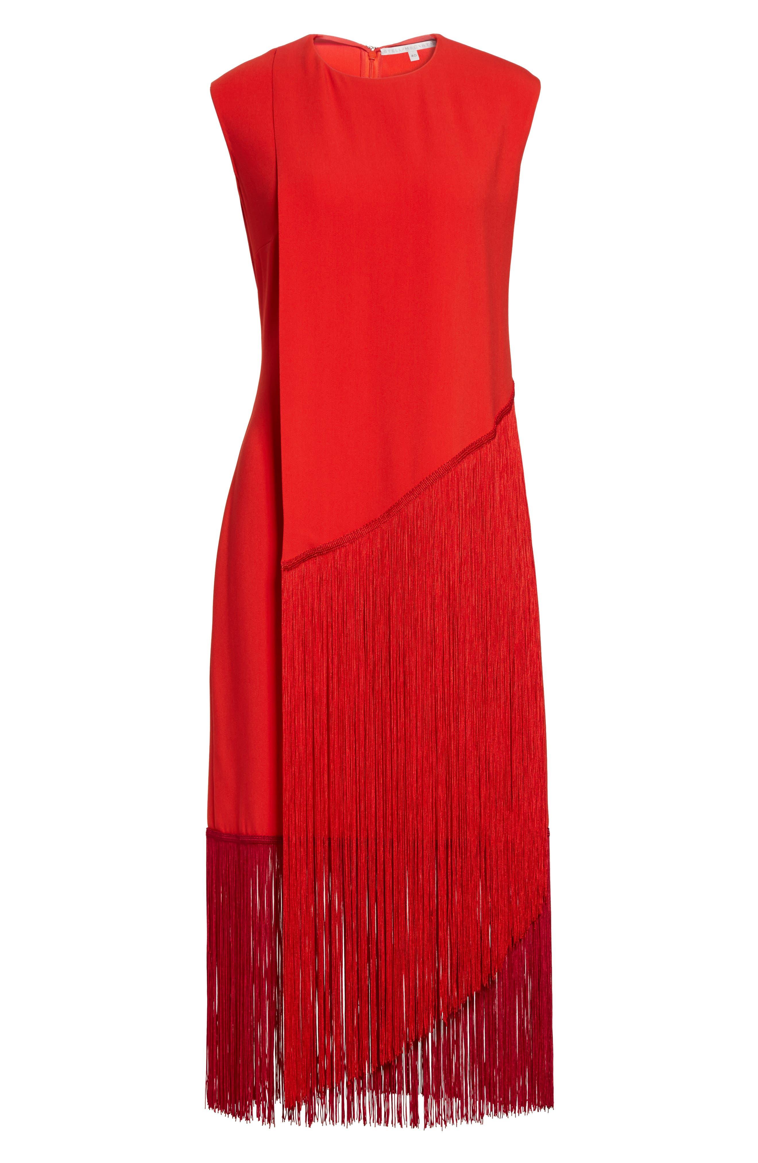 Fringe Overlay Dress,                             Alternate thumbnail 4, color,                             Lipstick