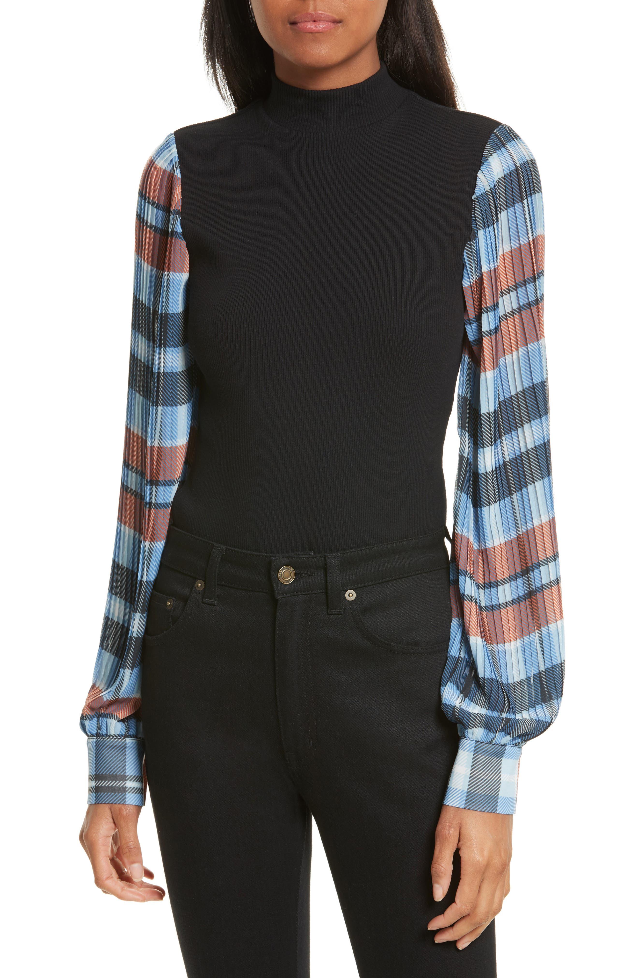OPENING CEREMONY Plaid Sleeve Bodysuit