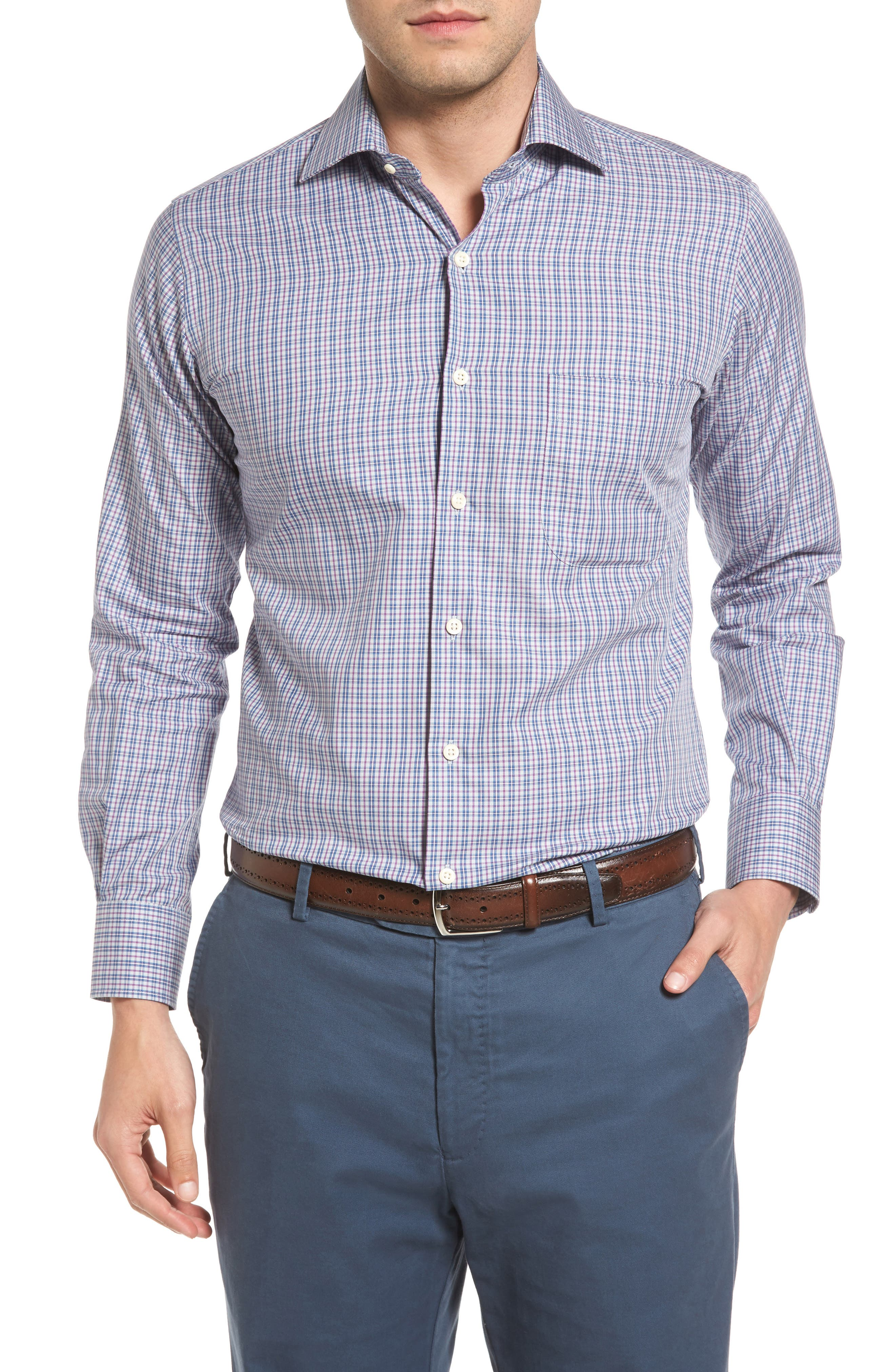 Hillock Plaid Regular Fit Sport Shirt,                             Main thumbnail 1, color,                             Stingray