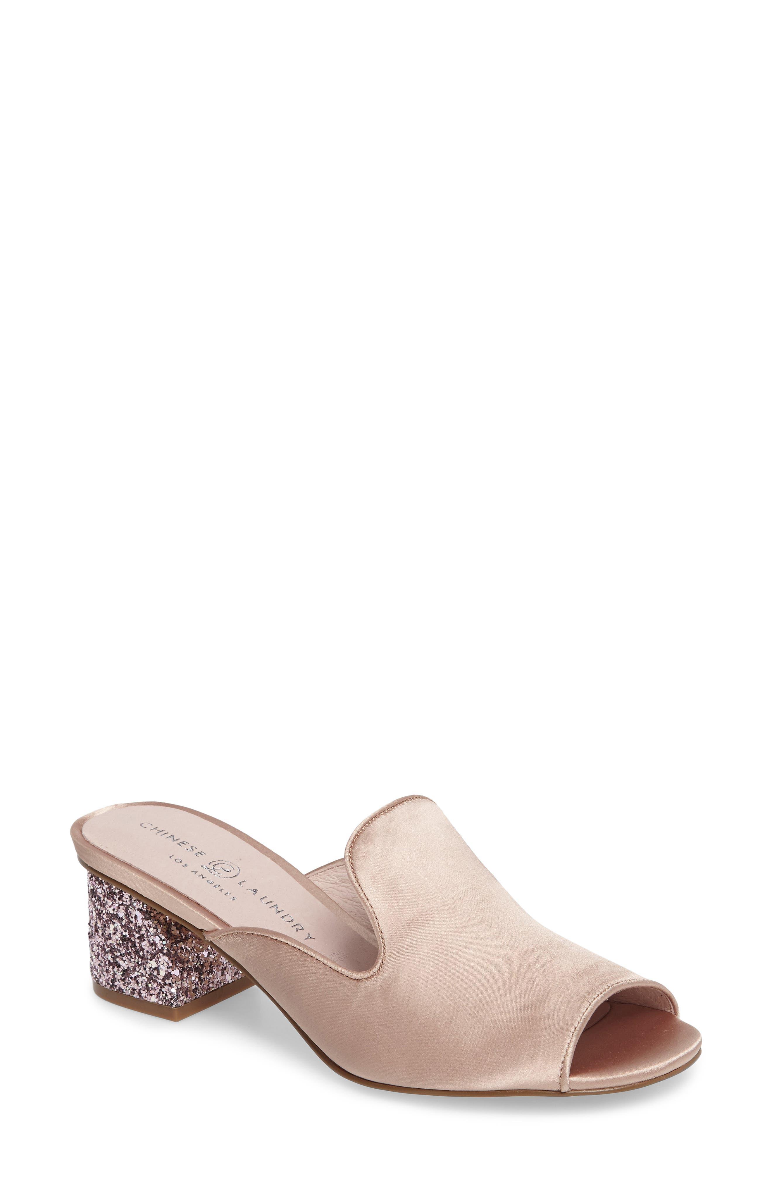 Mara Glitter Loafer Mule,                             Main thumbnail 1, color,                             Summer Nude Satin