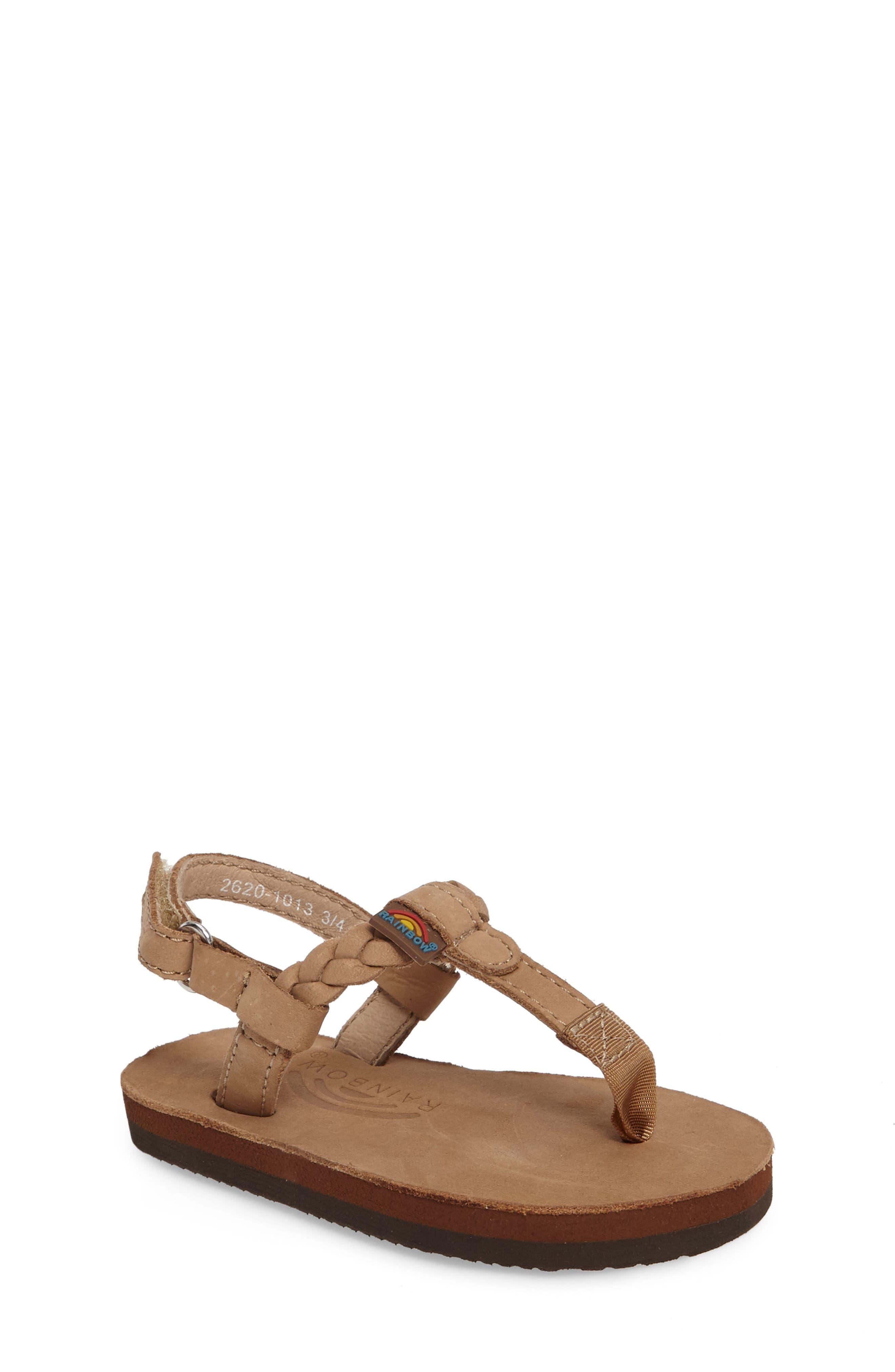 Rainbow Sandals Sophia Braided T-Strap Sandal (Baby, Walker & Toddler)