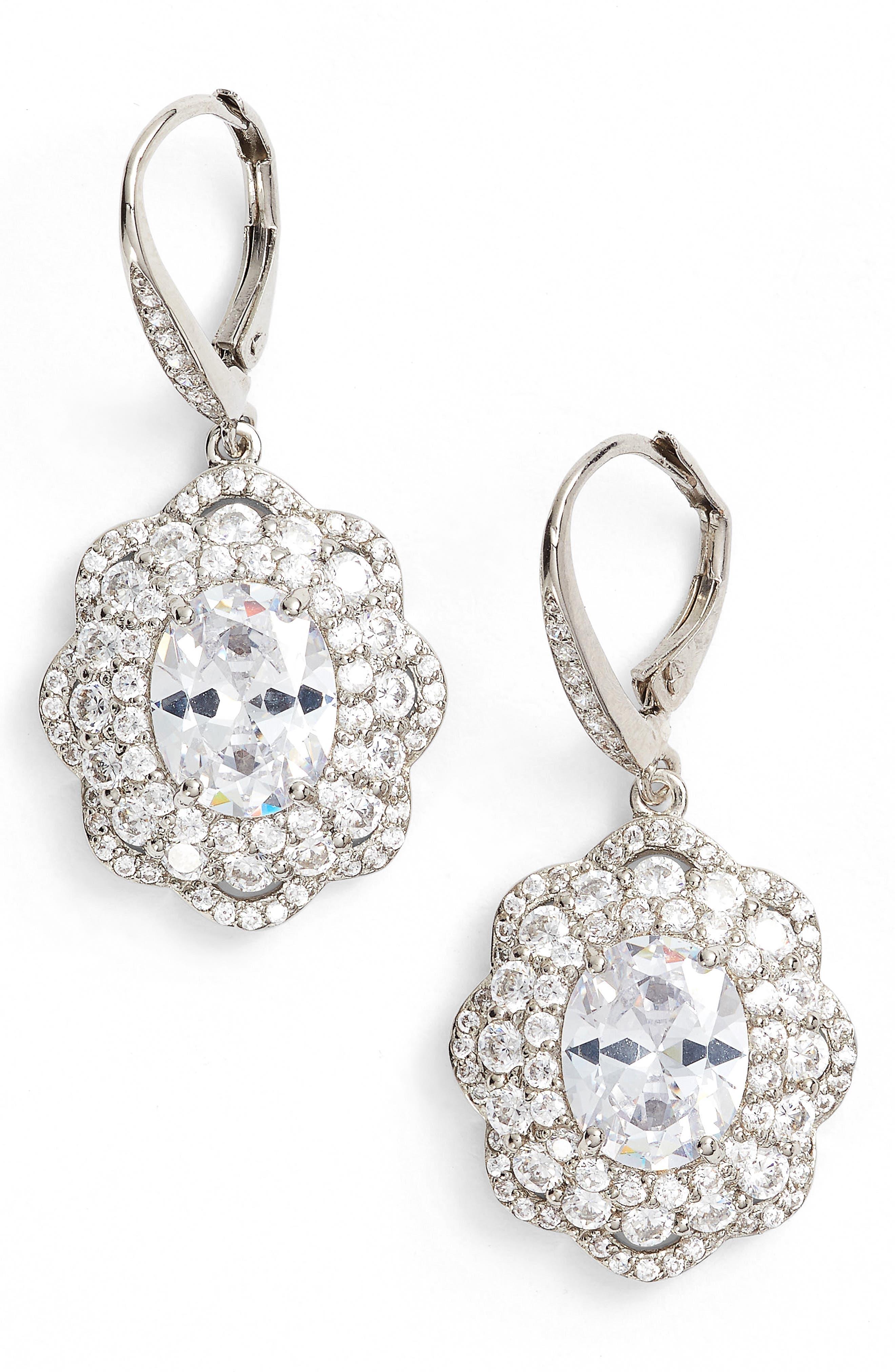 Vintage Drop Crystal Earrings,                         Main,                         color, Silver