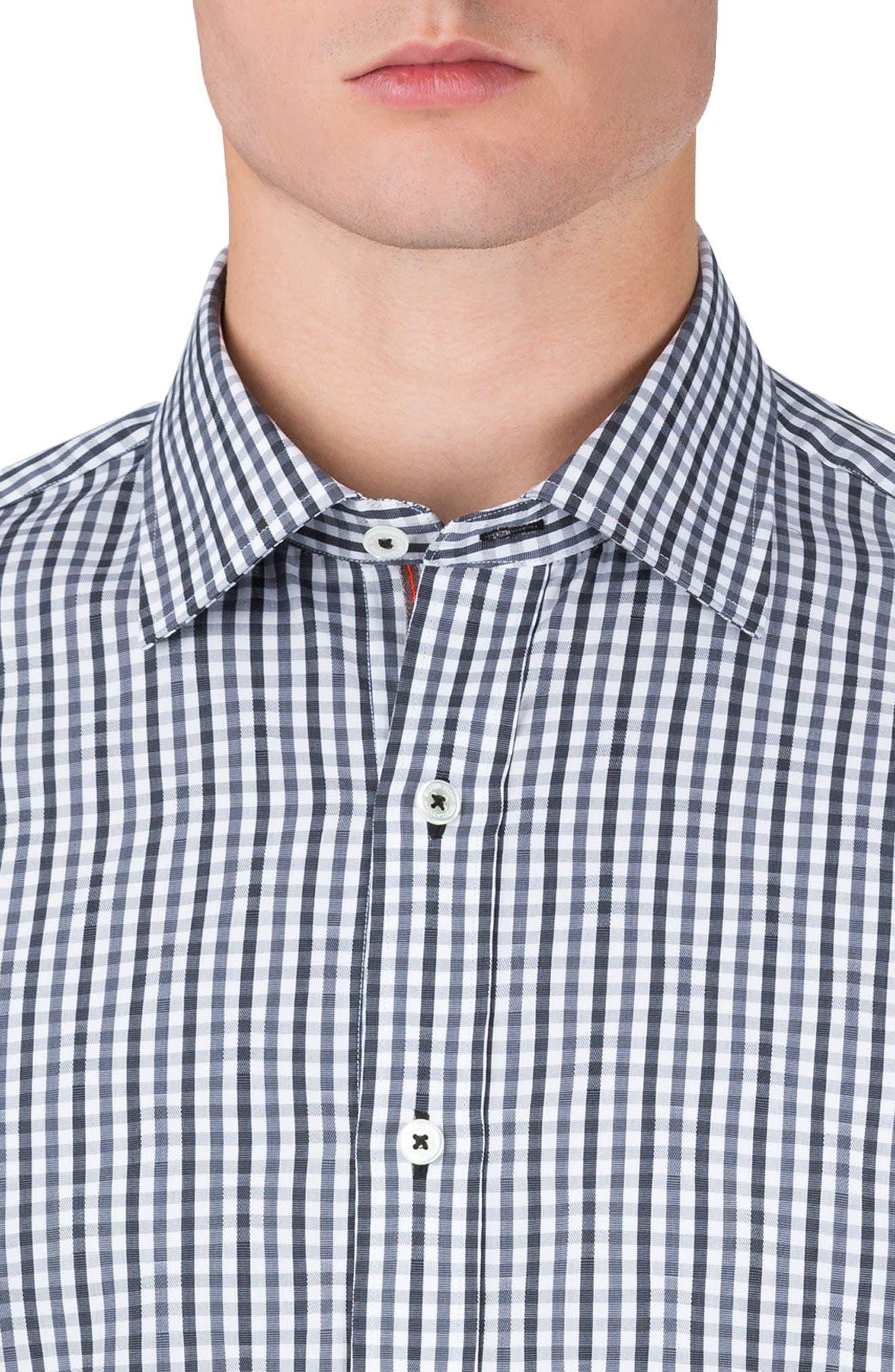 Classic Fit Gingham Sport Shirt,                             Alternate thumbnail 3, color,                             Graphite