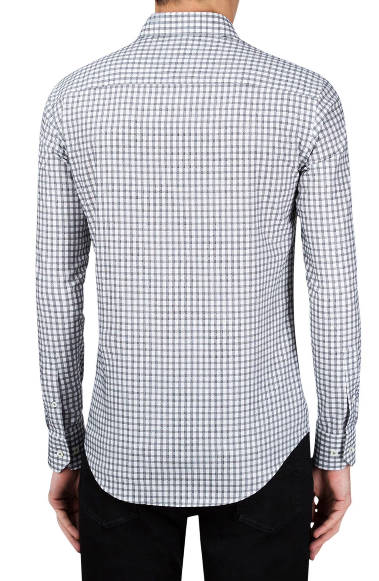 Shaped Fit Check Sport Shirt,                             Alternate thumbnail 2, color,                             Graphite