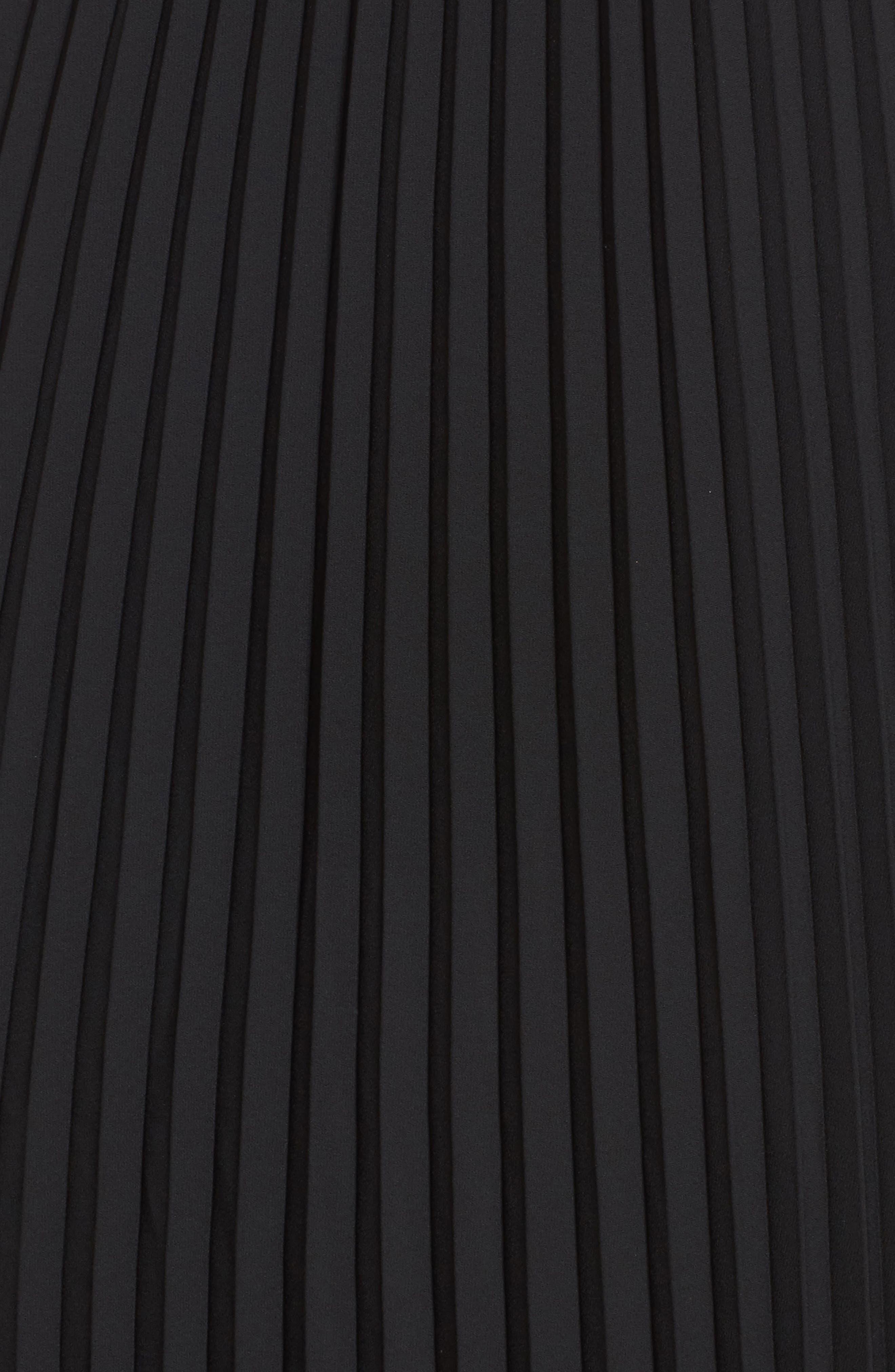 Pleated Midi Skirt,                             Alternate thumbnail 5, color,                             Black
