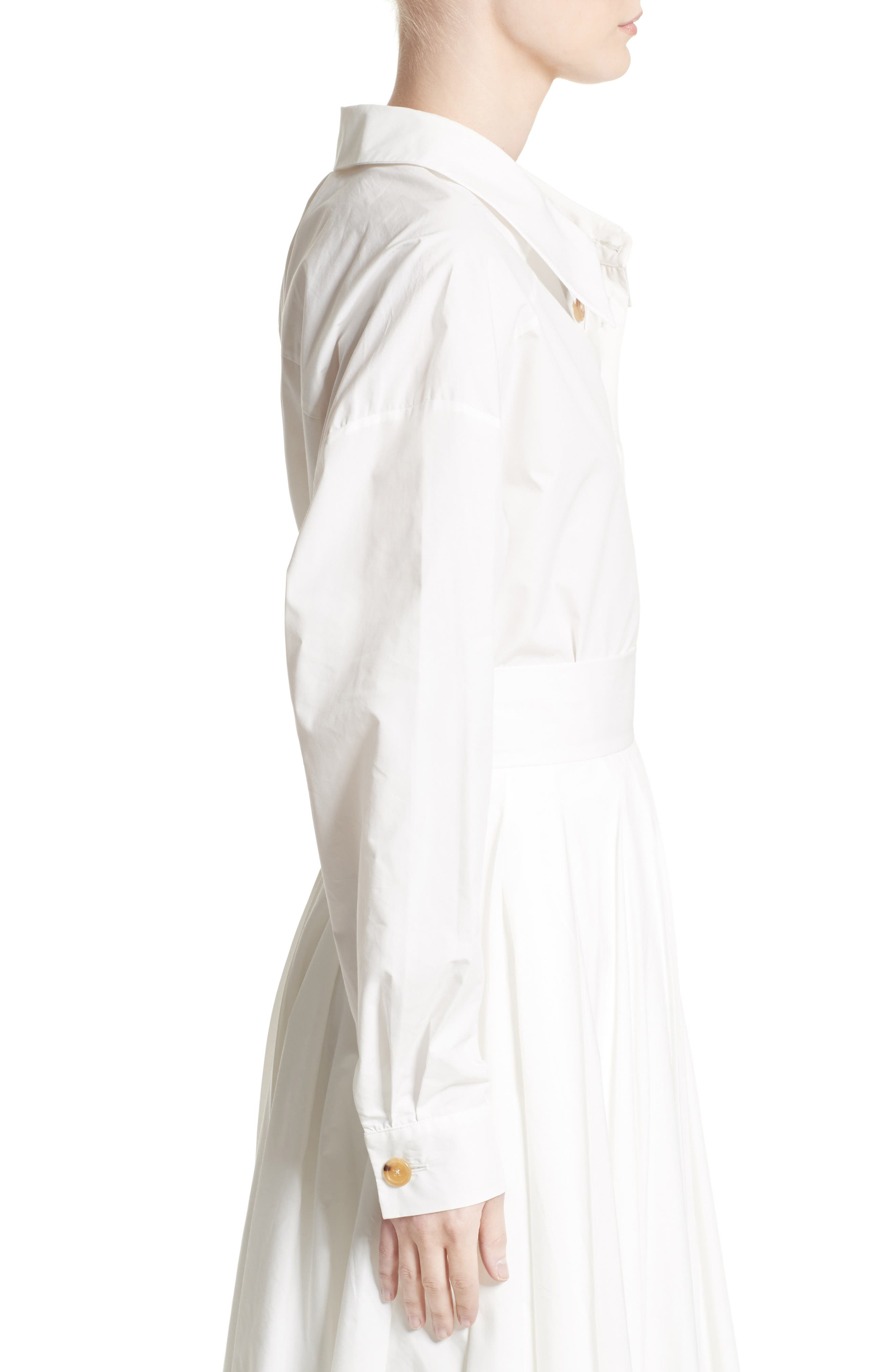Oversized Convertible Wrap Blouse,                             Alternate thumbnail 5, color,                             White