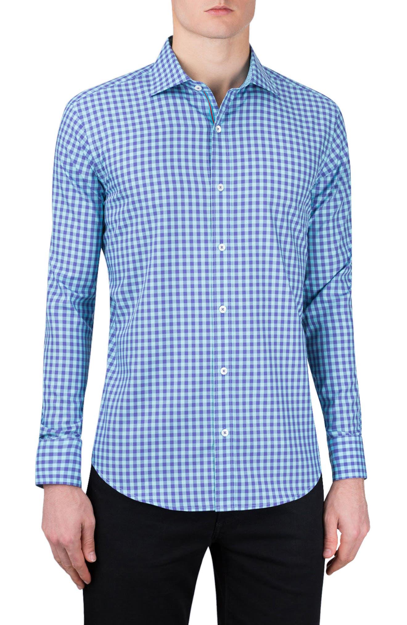 Classic Fit Gingham Sport Shirt,                         Main,                         color, Mauve