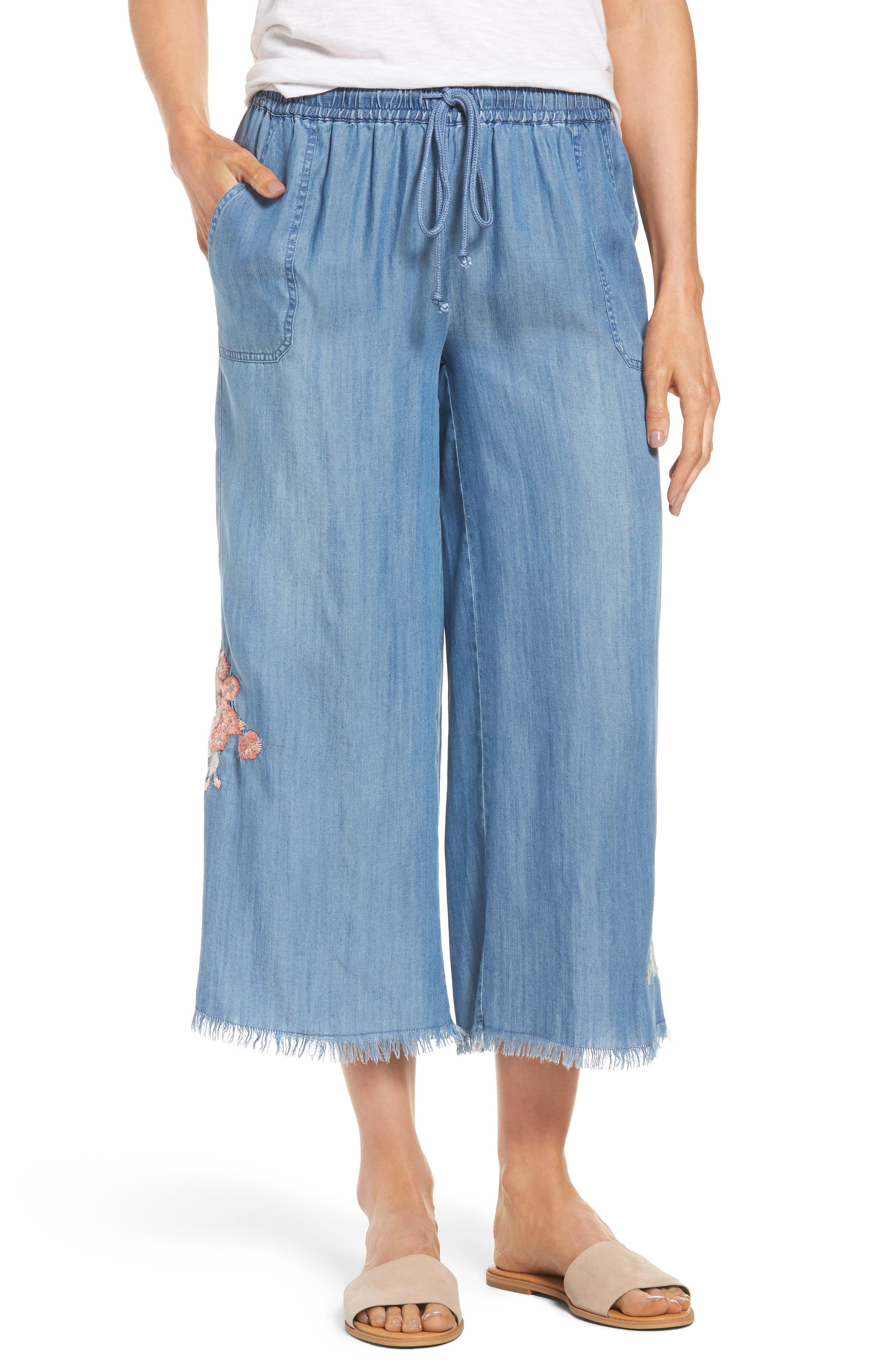 Embroidered Denim Wide Leg Crop Pants,                         Main,                         color, Medium Blue