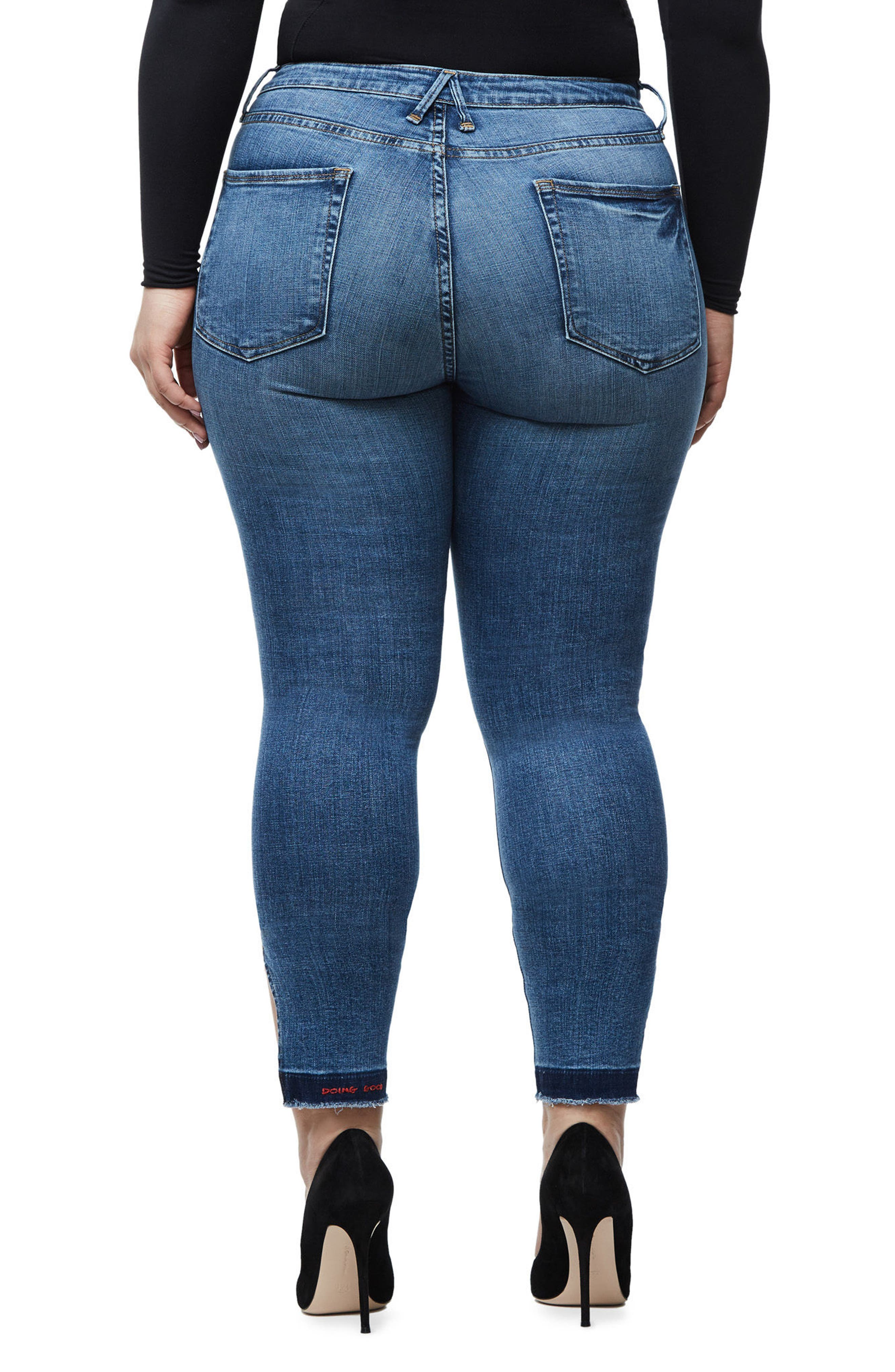 Alternate Image 5  - Good American Good Legs High Rise Split Hem Crop Skinny Jeans (Blue 061)