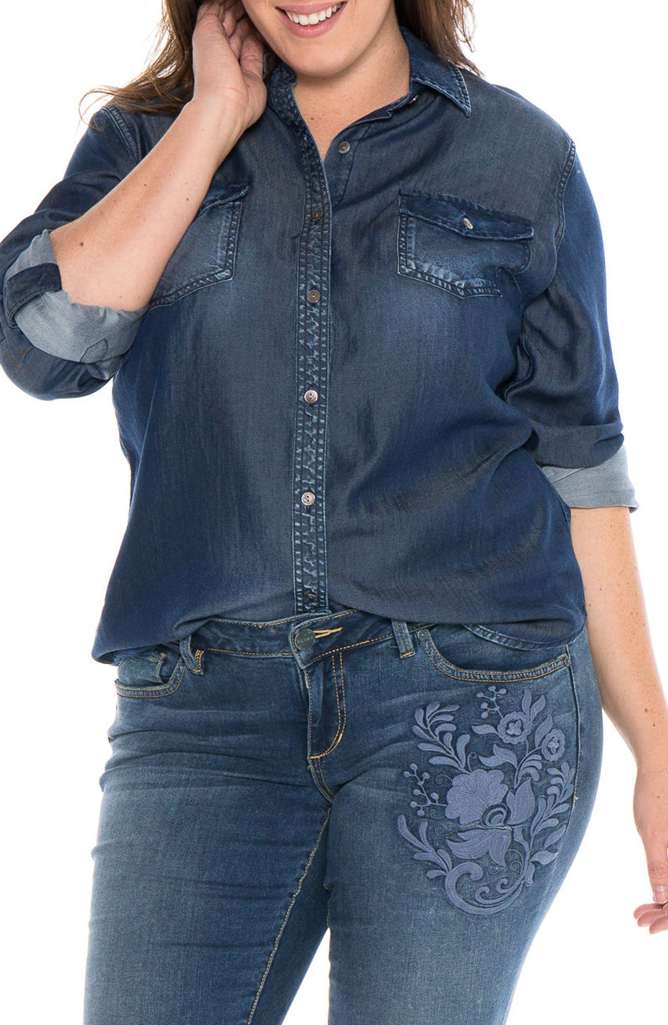 Western Denim Shirt,                         Main,                         color, Sally