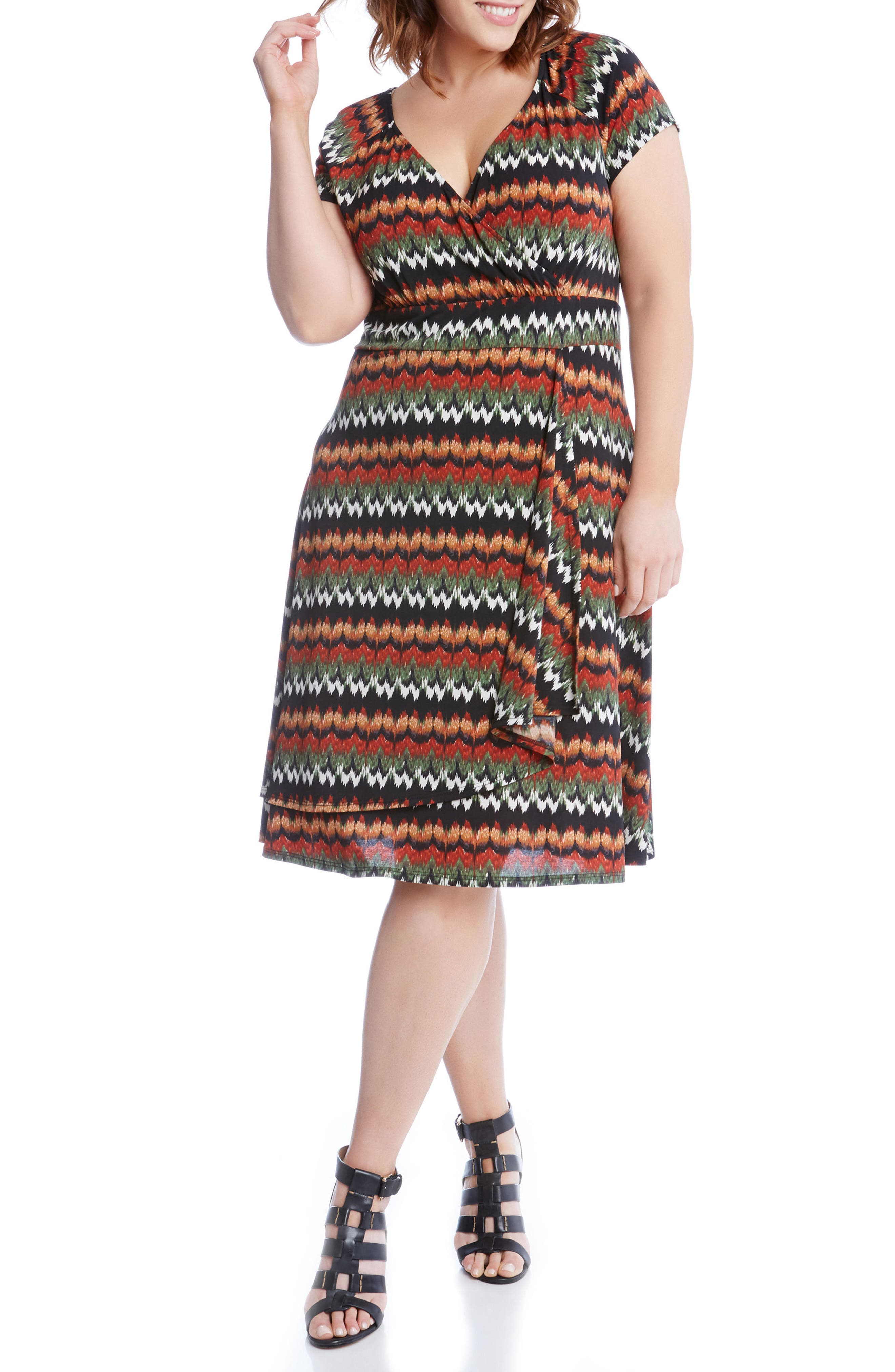 Print Cascade Drape Dress,                             Alternate thumbnail 4, color,                             Print