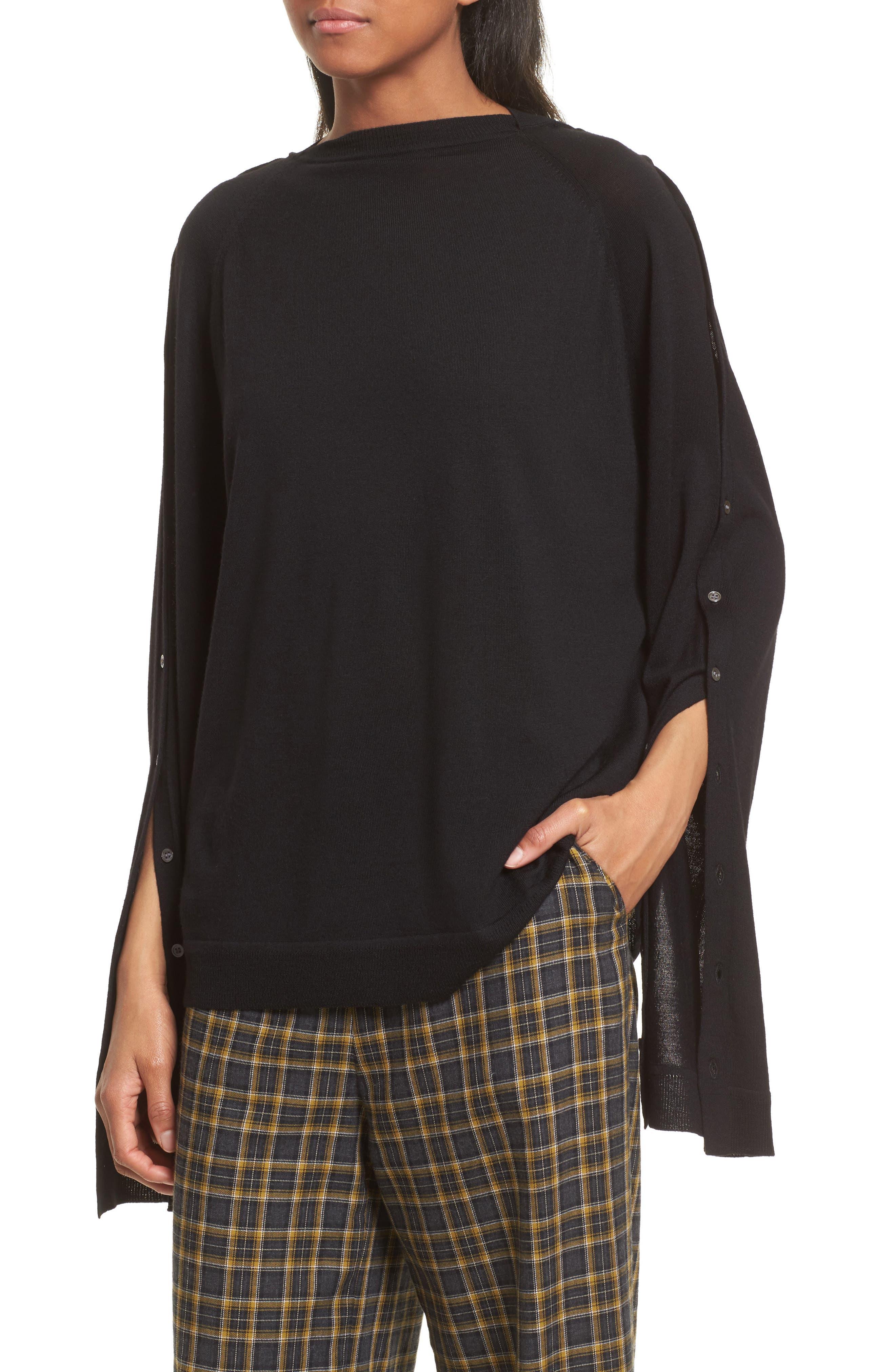 Merino Wool Reversible Hoodie,                             Alternate thumbnail 5, color,                             Black