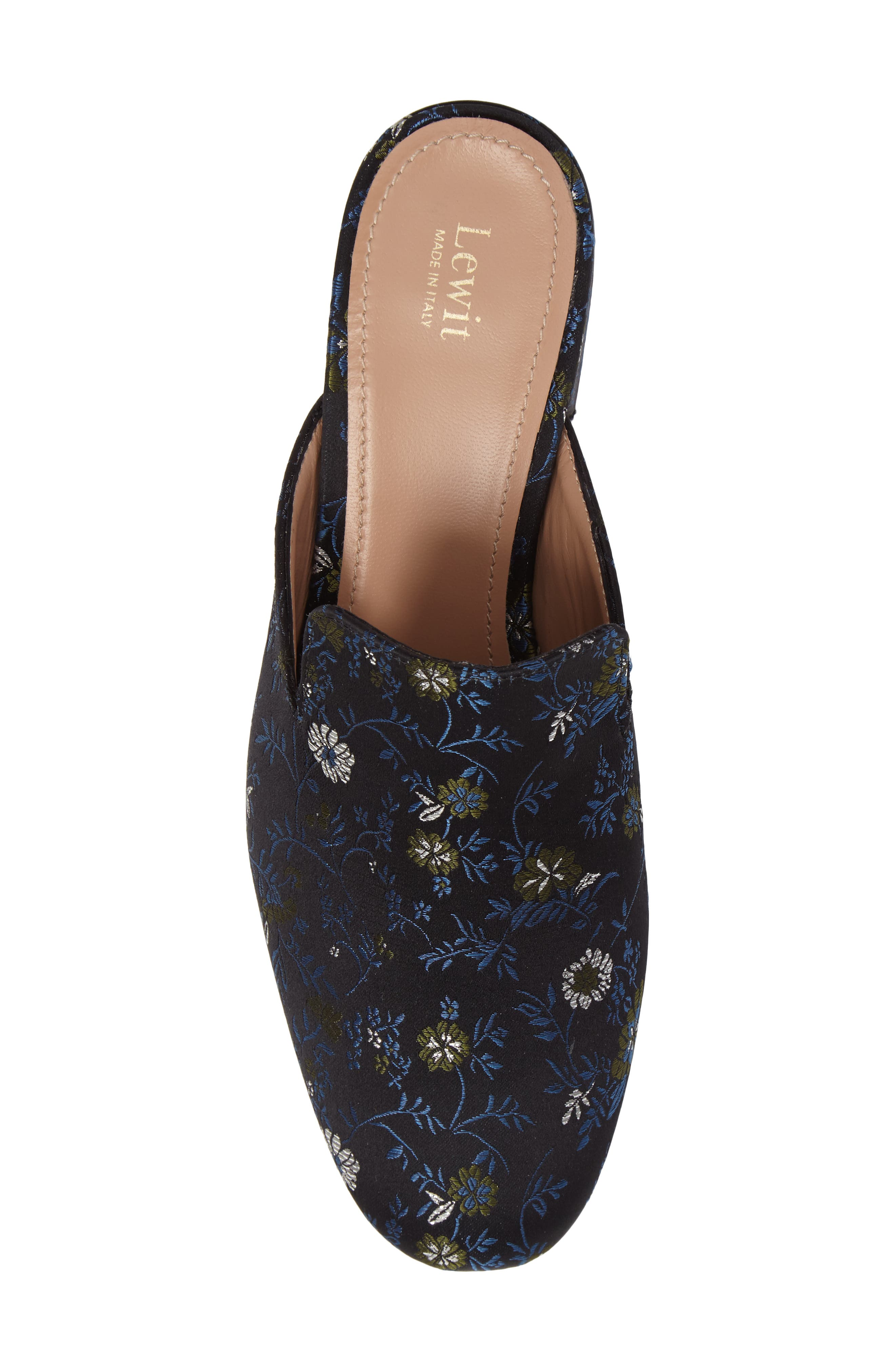 Bianca Embroidered Loafer Mule,                             Alternate thumbnail 4, color,                             Black/ Blue Floral Fabric