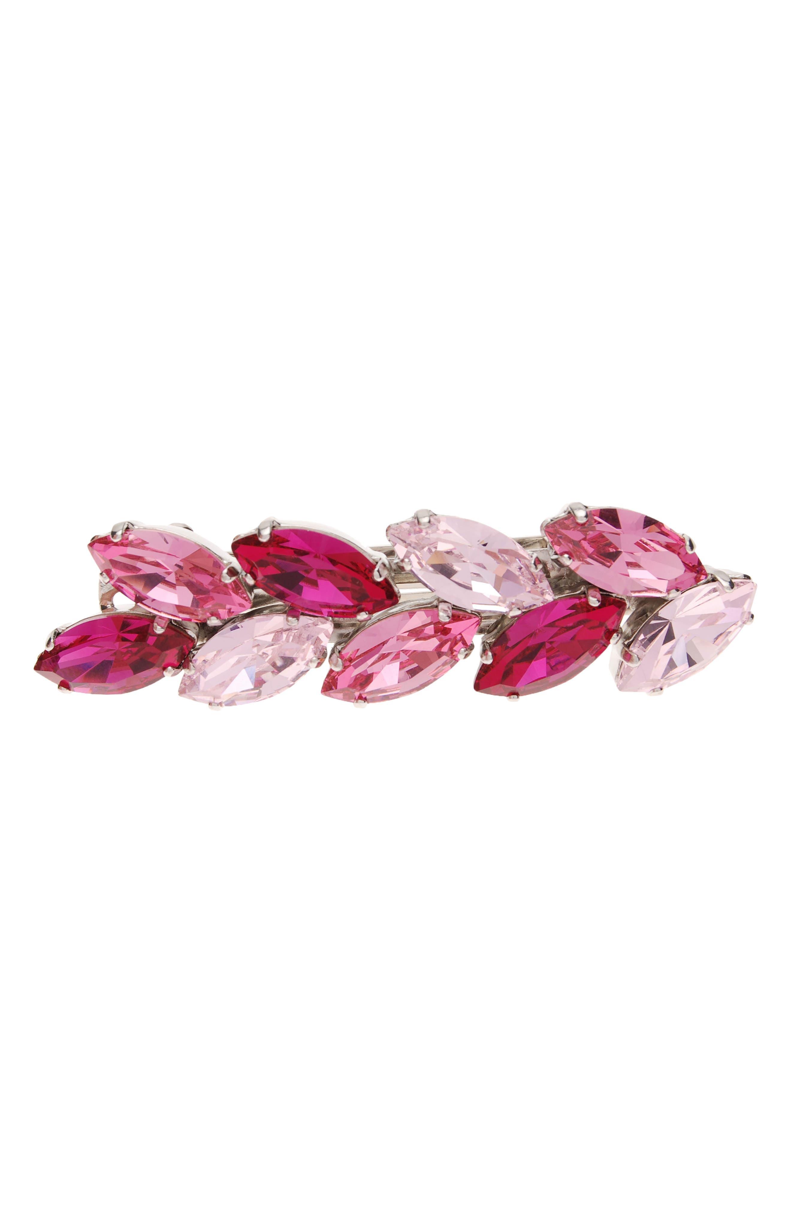 Small Ivy Swarovski Crystal Barrette,                             Main thumbnail 1, color,                             Fuchsia/ Rosline