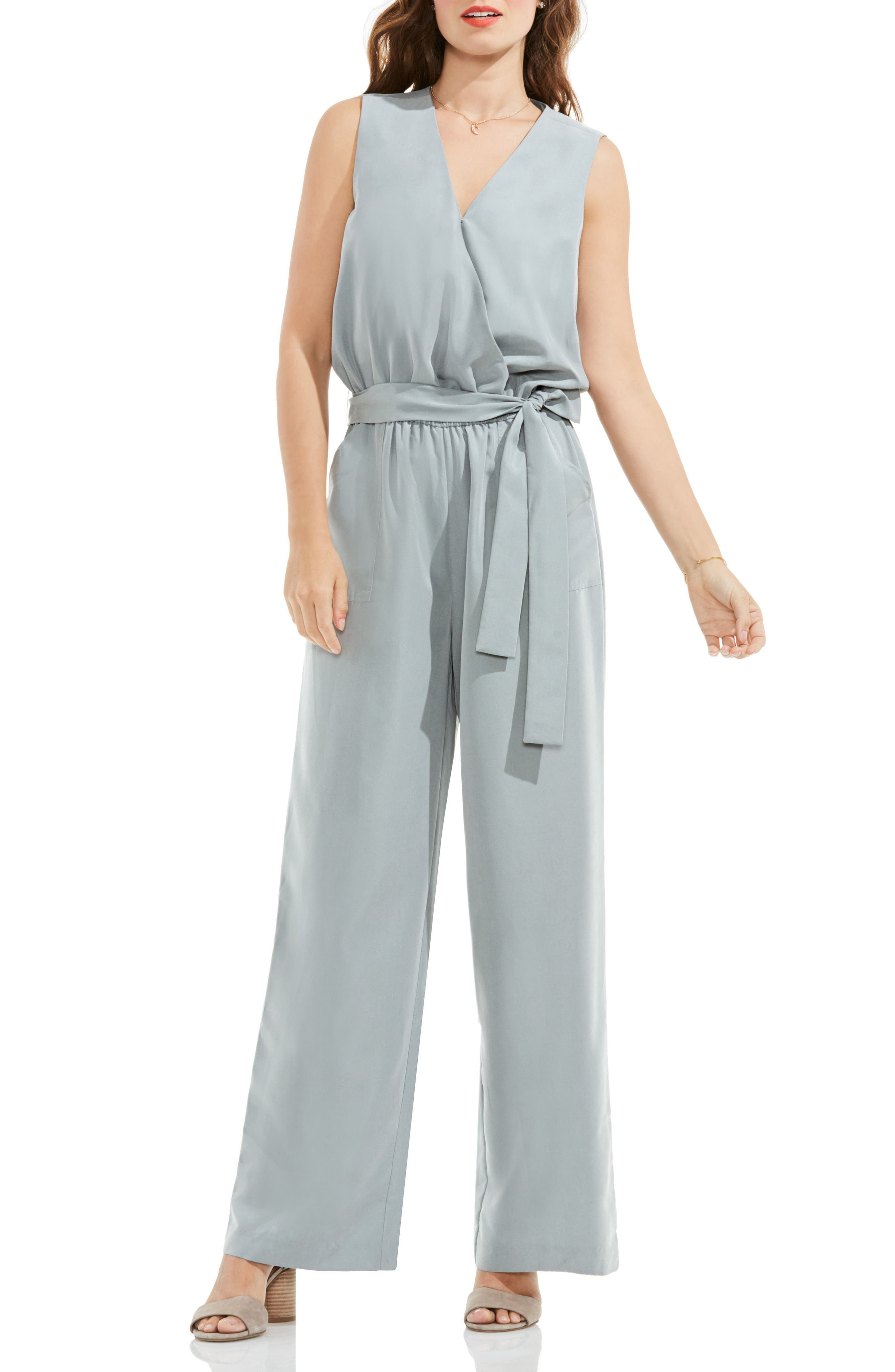 Vince Camuto Belted Surplice Jumpsuit
