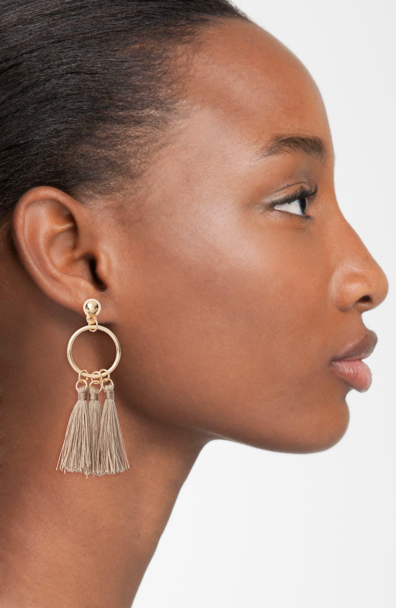 Ellie Tassel Hoop Earrings,                             Alternate thumbnail 2, color,                             Tan