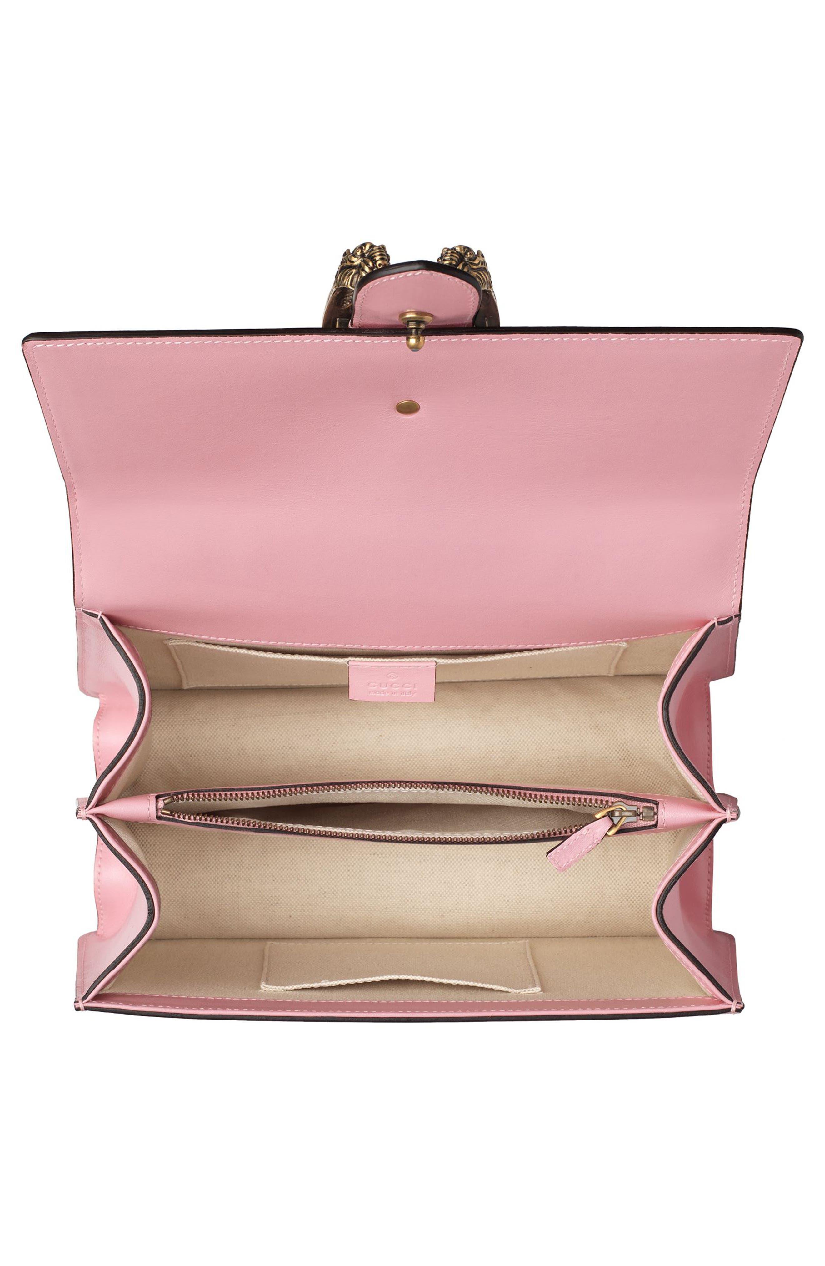 Small Dionysus Top Handle Leather Shoulder Bag,                             Alternate thumbnail 3, color,                             Sugar Pink/Multi