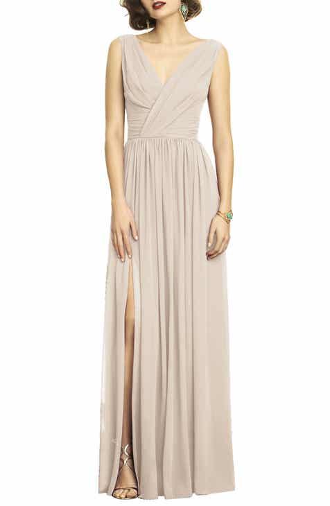 1111af59280 Dessy Collection Lux V-Neck Chiffon Gown (Regular   Plus)