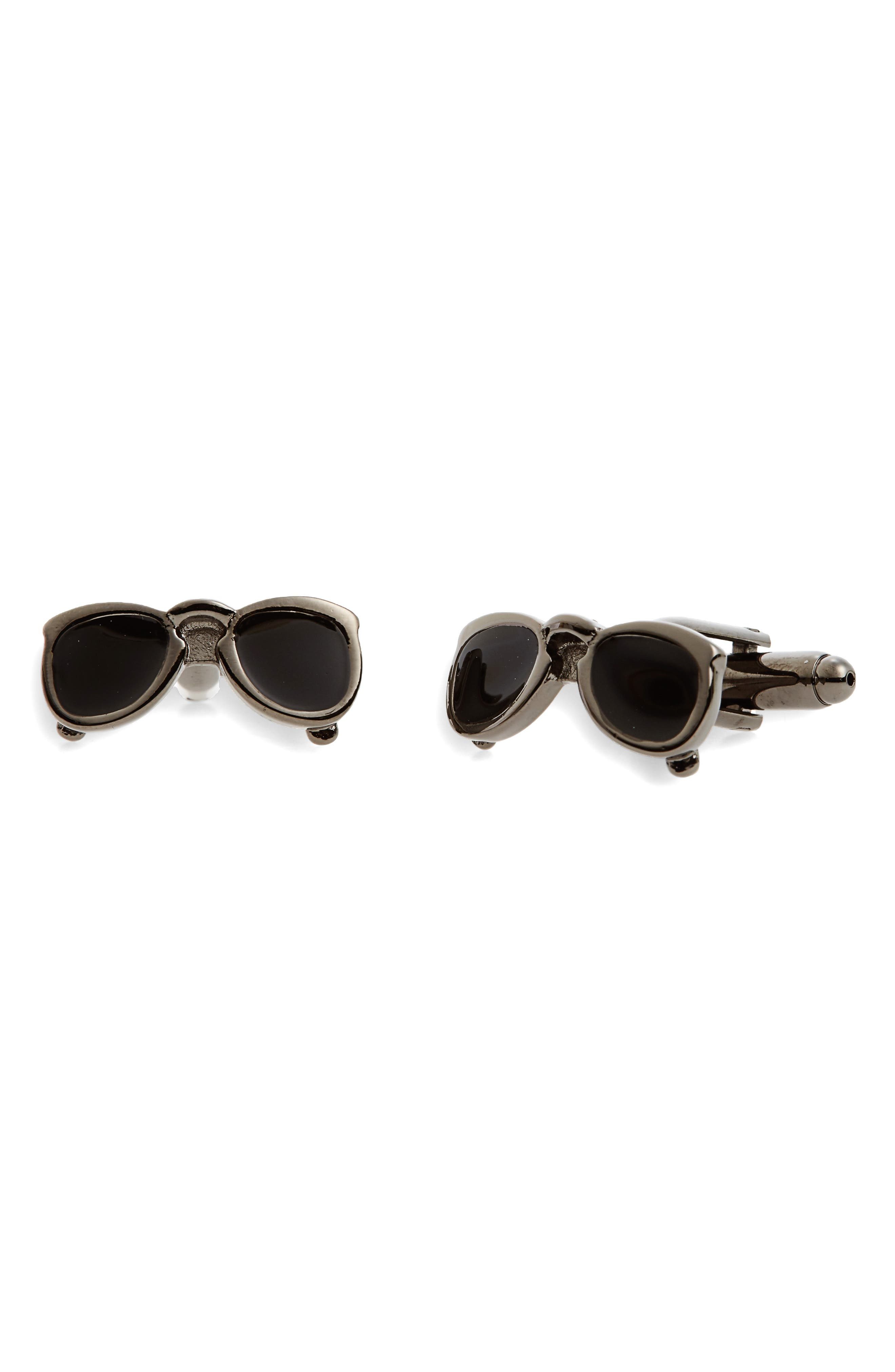 Sunglasses Cuff Links,                         Main,                         color, Black
