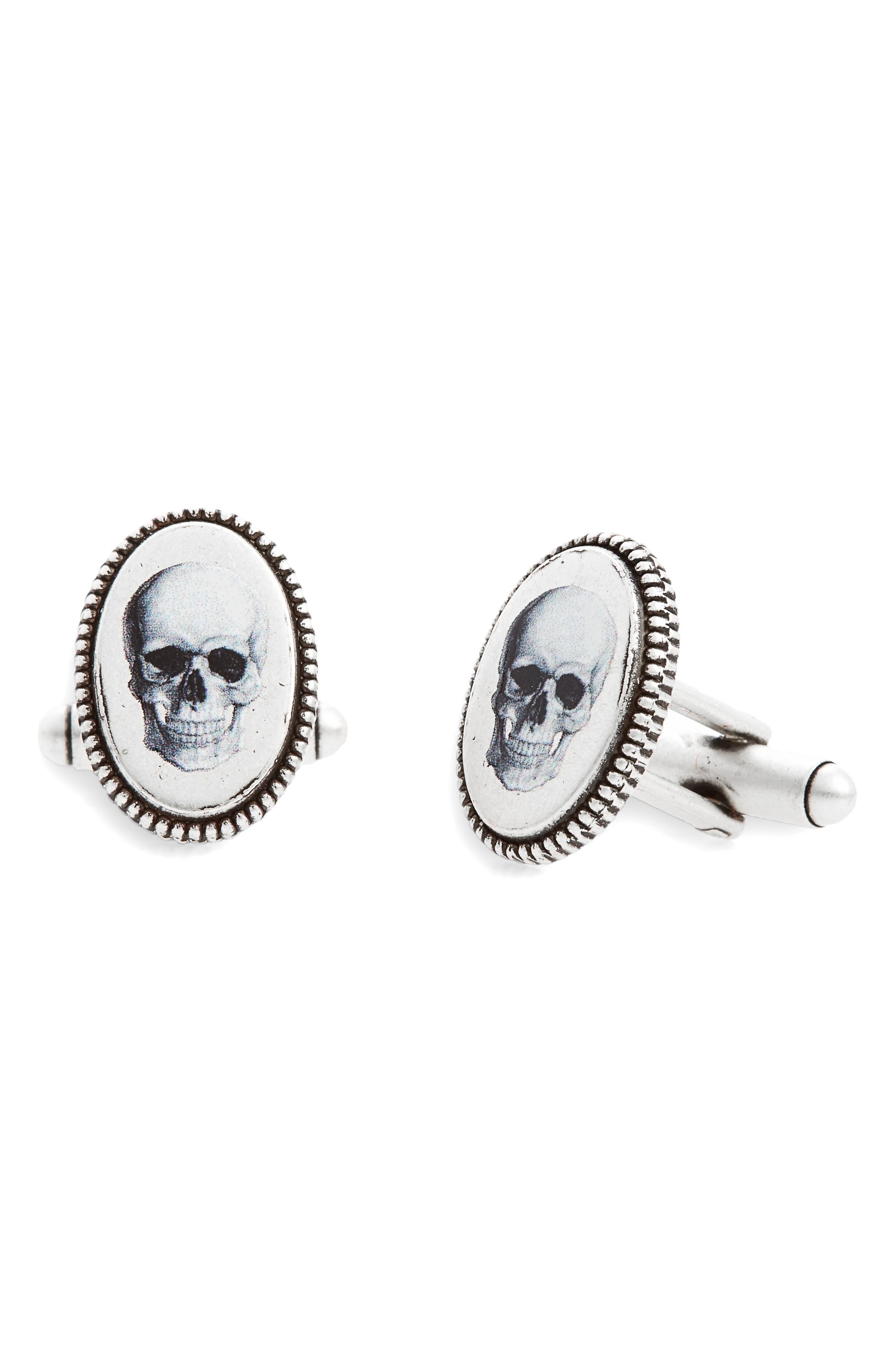Skull Cuff Links,                         Main,                         color, Silver