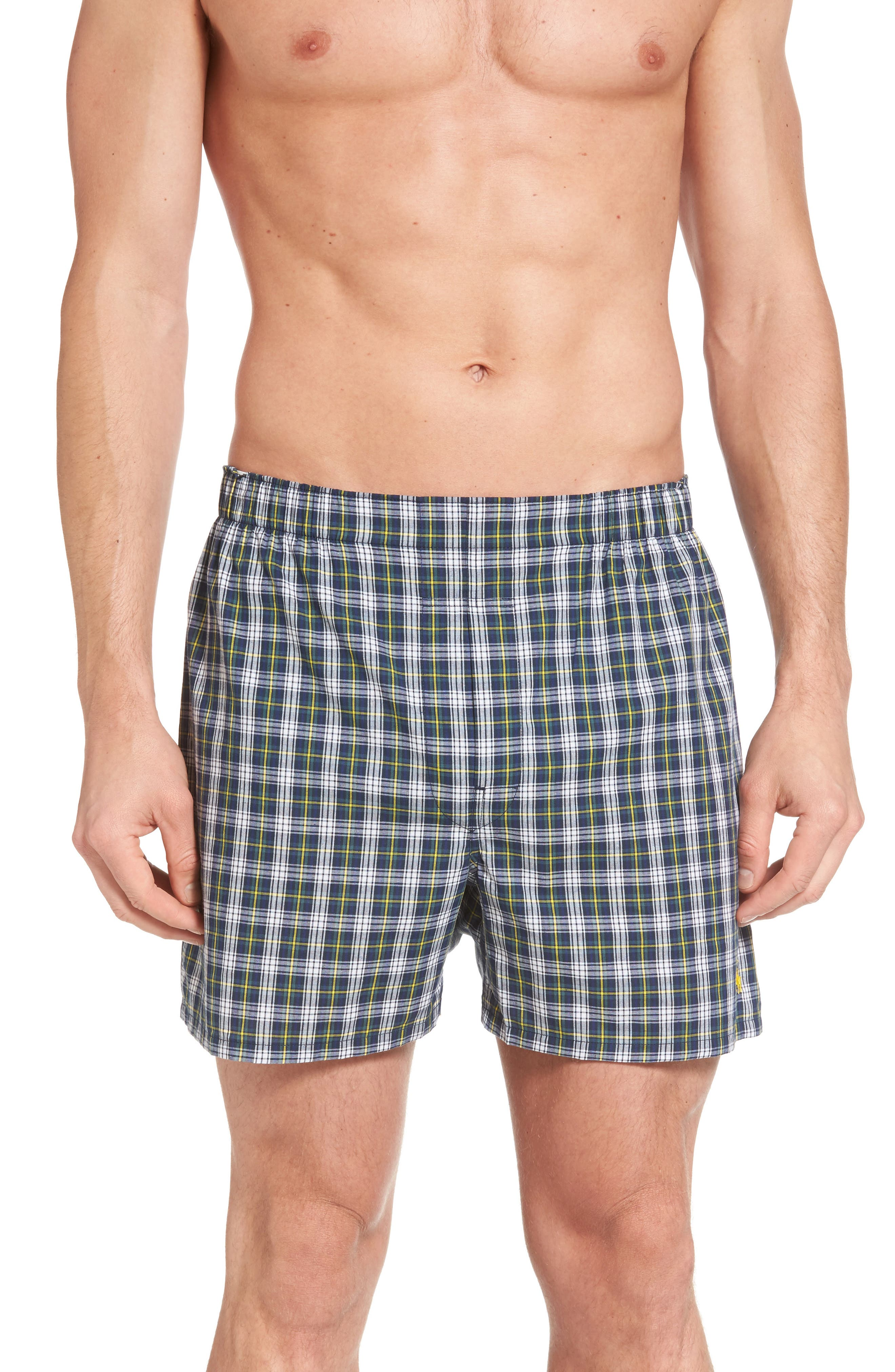 Assorted 3-Pack Woven Cotton Boxers,                             Alternate thumbnail 2, color,                             Blue/ Green Plaid/ Navy Plaid