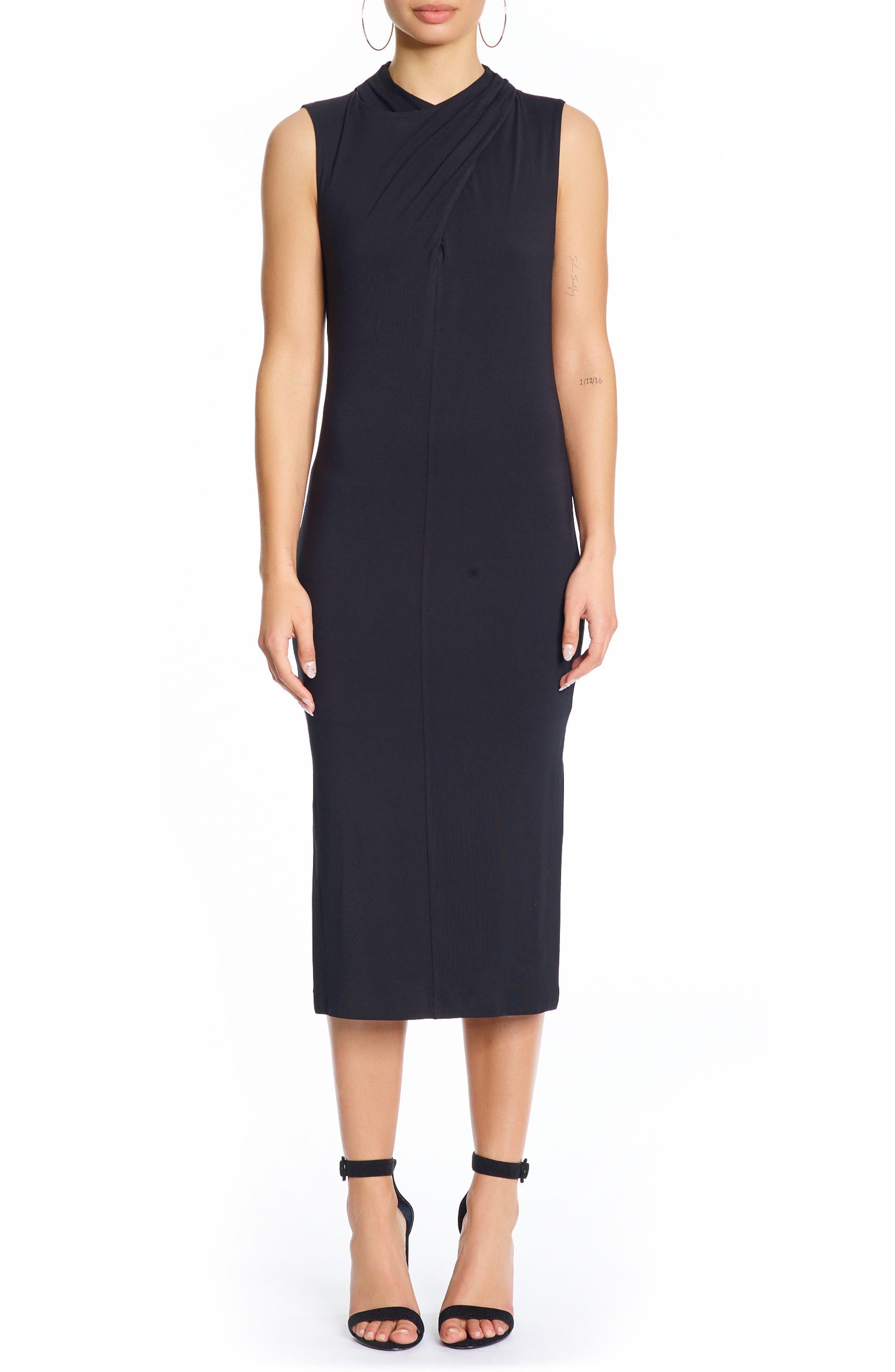 Twist Front Dress,                         Main,                         color, Black