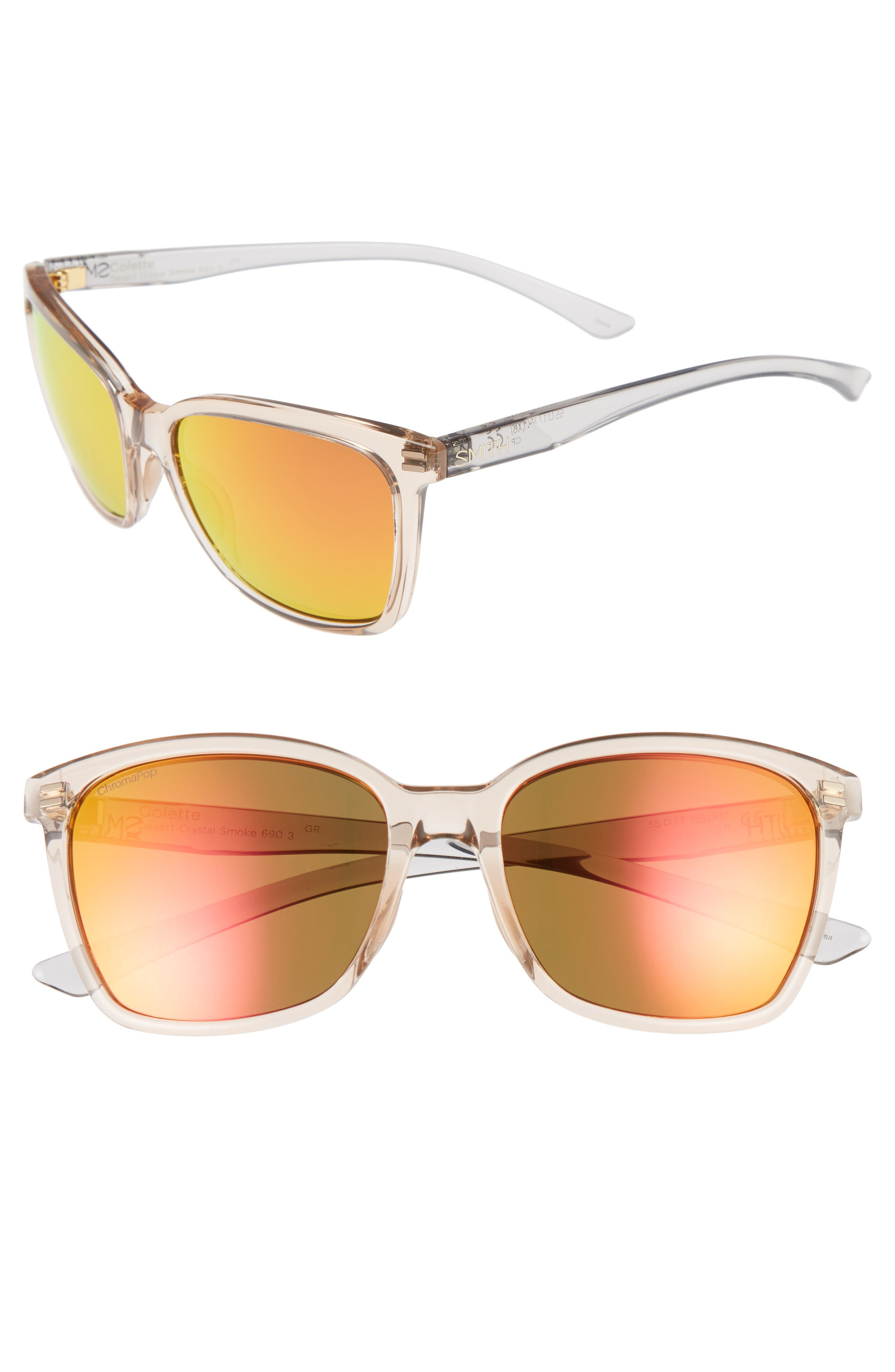 Colette Chromapop 55mm Polarized Mirrored Lens Sunglasses,                         Main,                         color, Desert Crystal/ Smoke