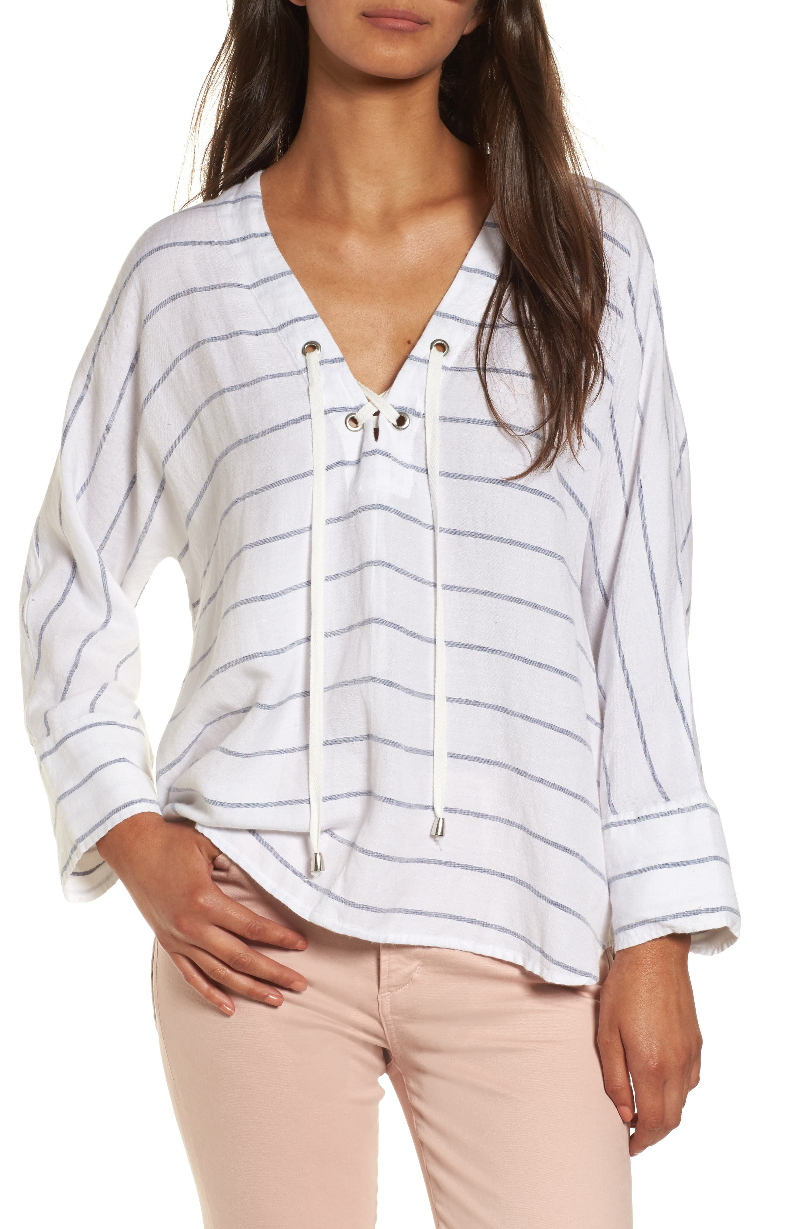 Lily Lace-Up Blouse,                         Main,                         color, White Stripe