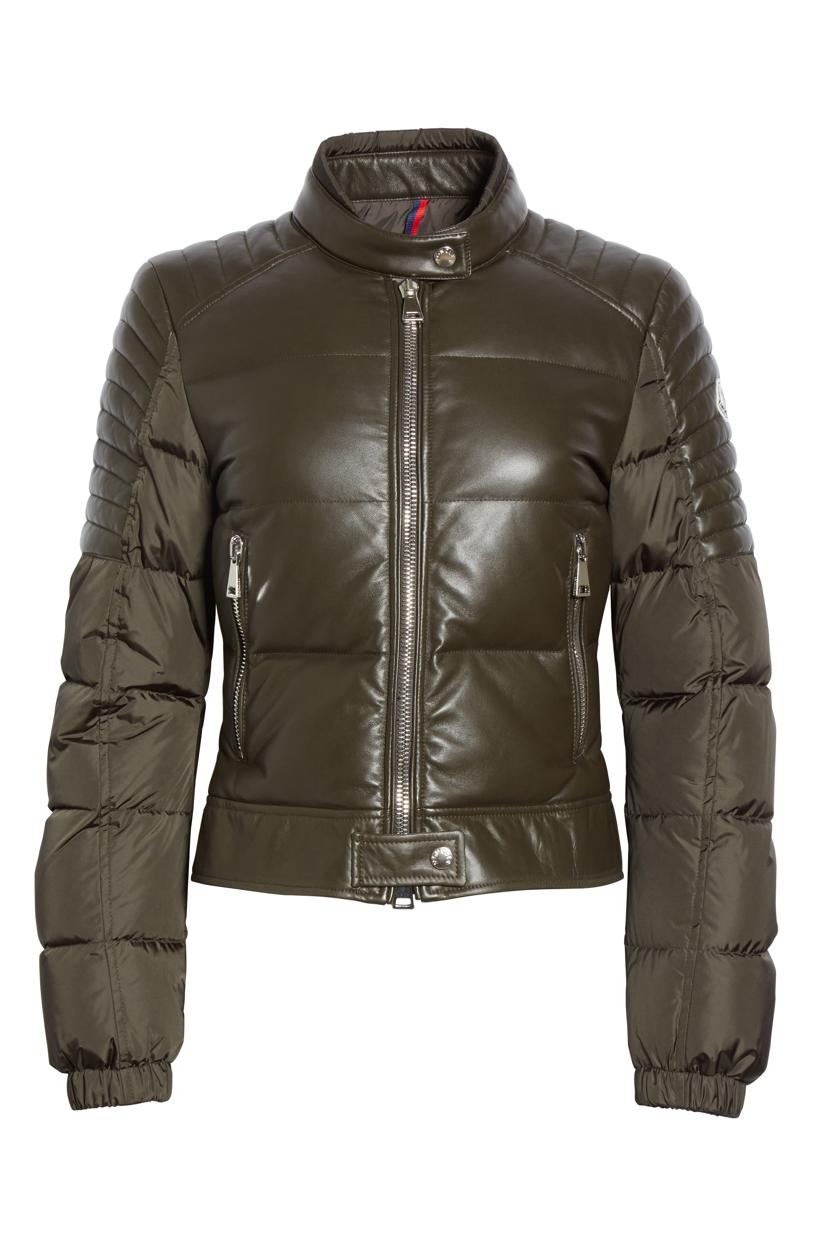 Clematis Leather Trim Down Puffer Jacket,                             Alternate thumbnail 4, color,                             Olive