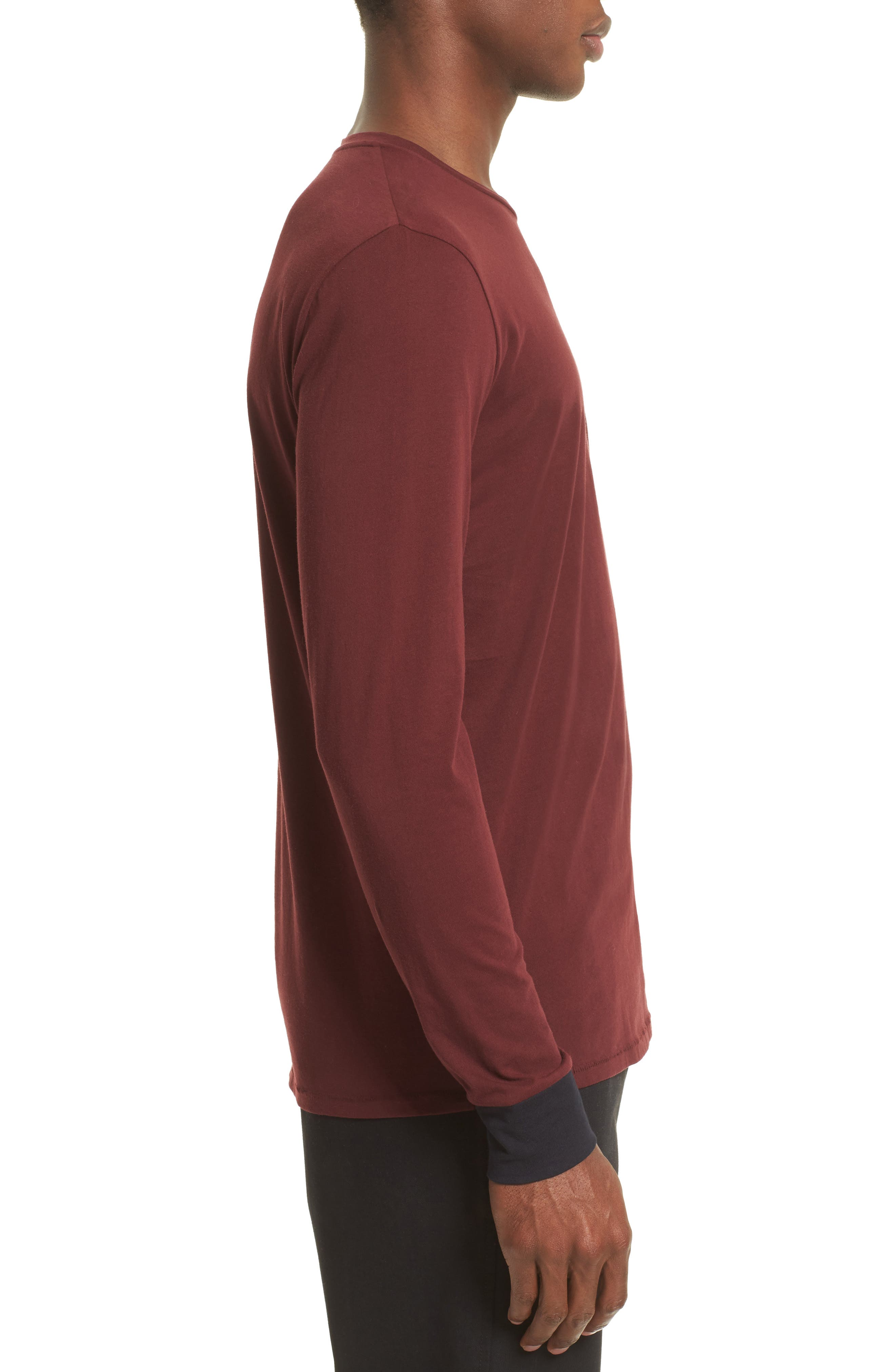 Contrast Cuff T-Shirt,                             Alternate thumbnail 3, color,                             Maroon