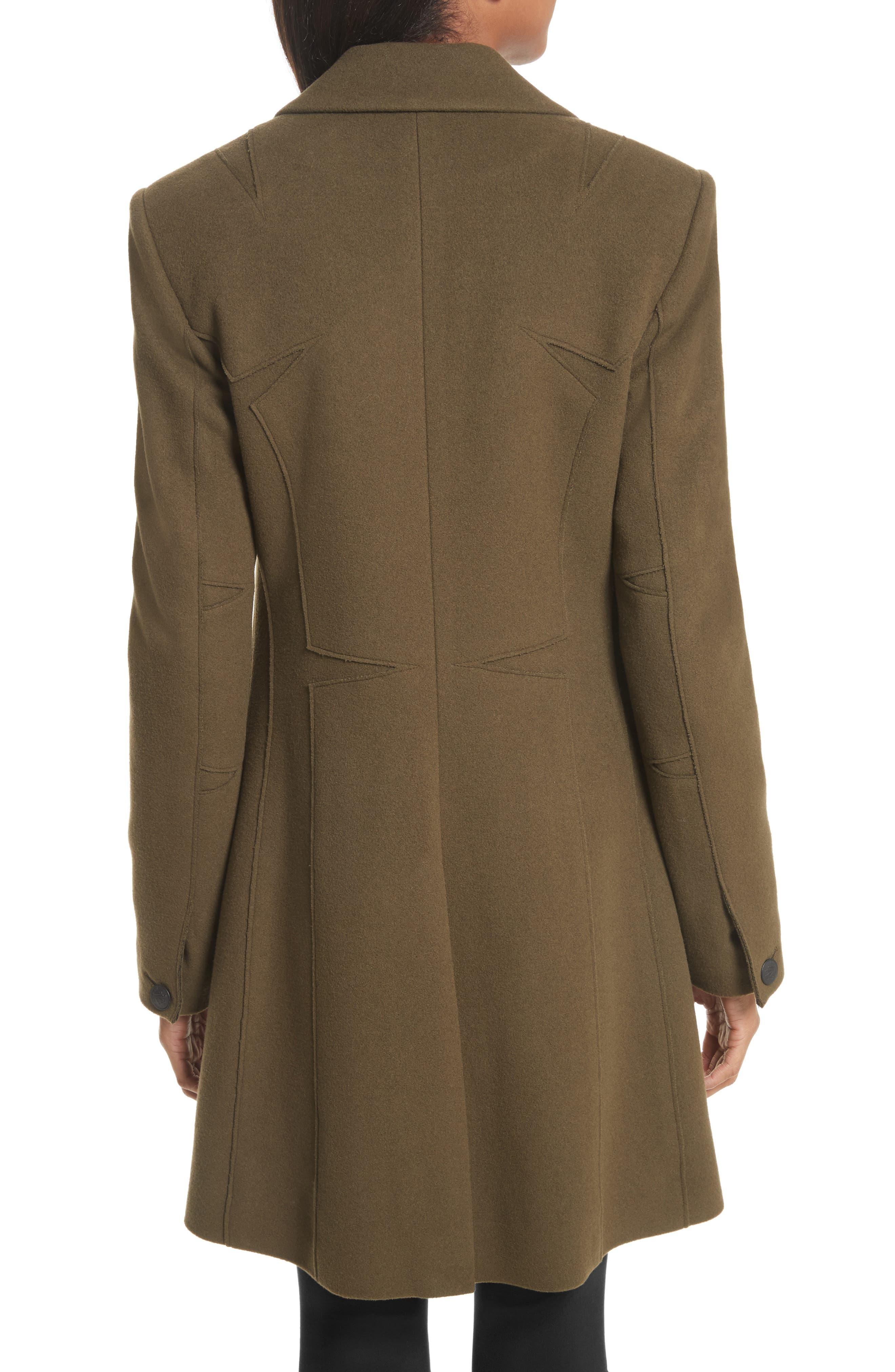 Duchess Wool Blend Coat,                             Alternate thumbnail 3, color,                             Olive