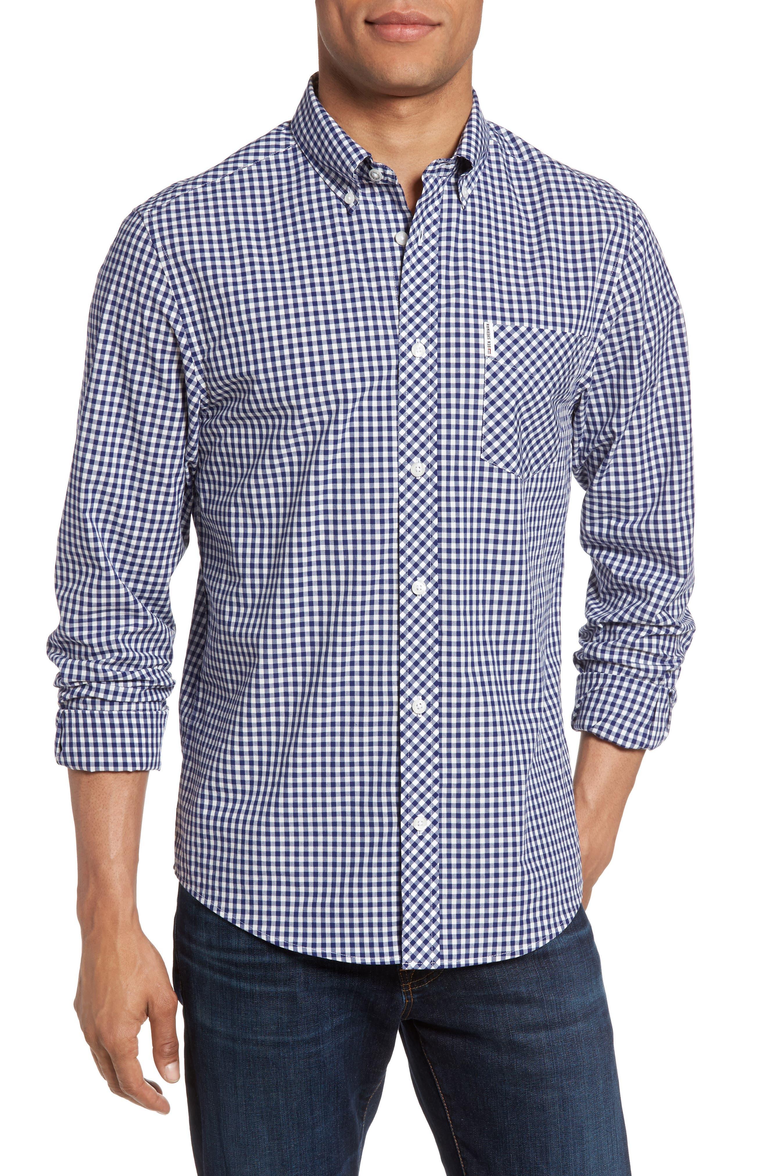 Mod Fit Gingham Sport Shirt,                             Main thumbnail 1, color,                             Blue Depths