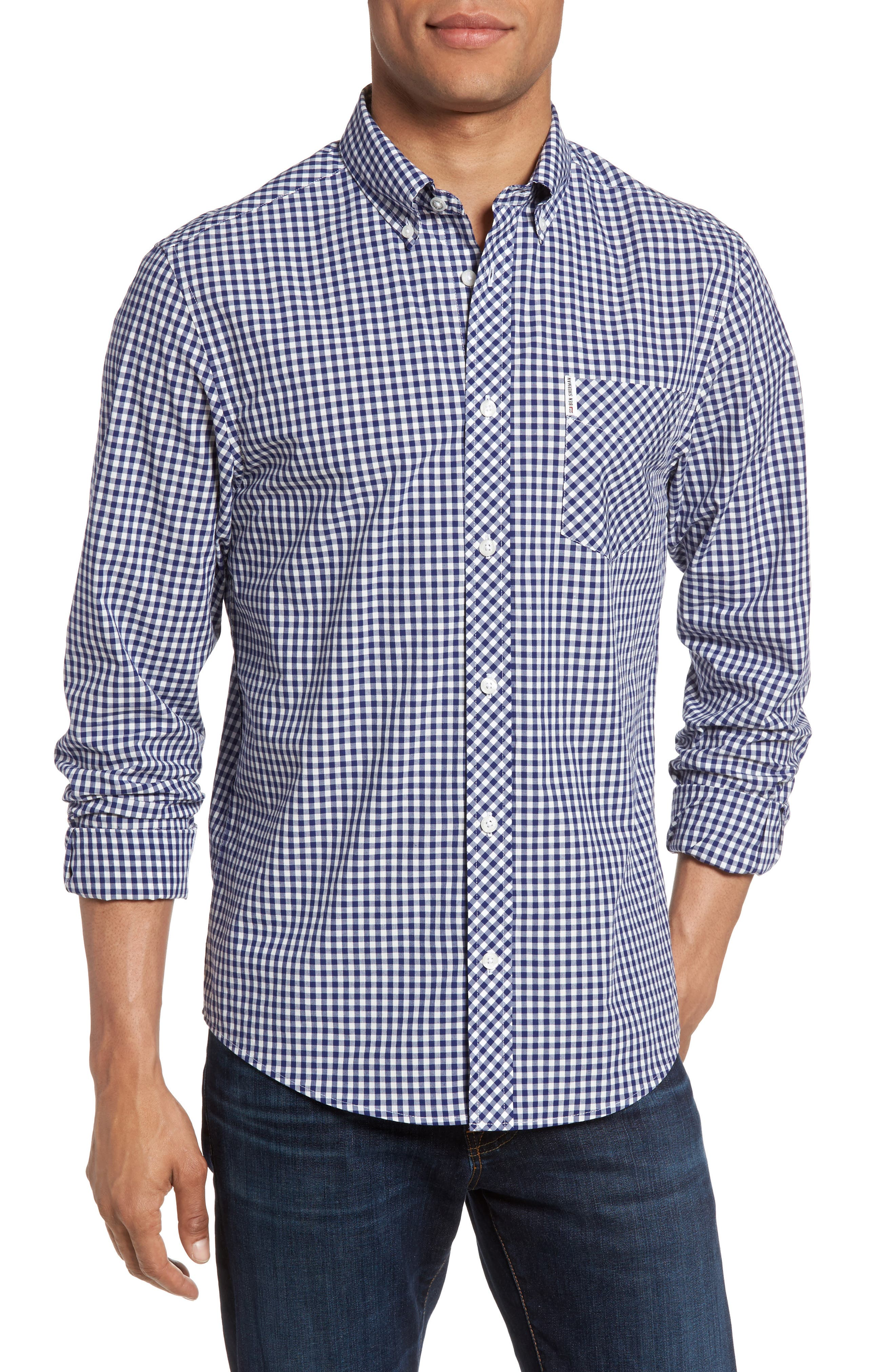 Mod Fit Gingham Sport Shirt,                         Main,                         color, Blue Depths