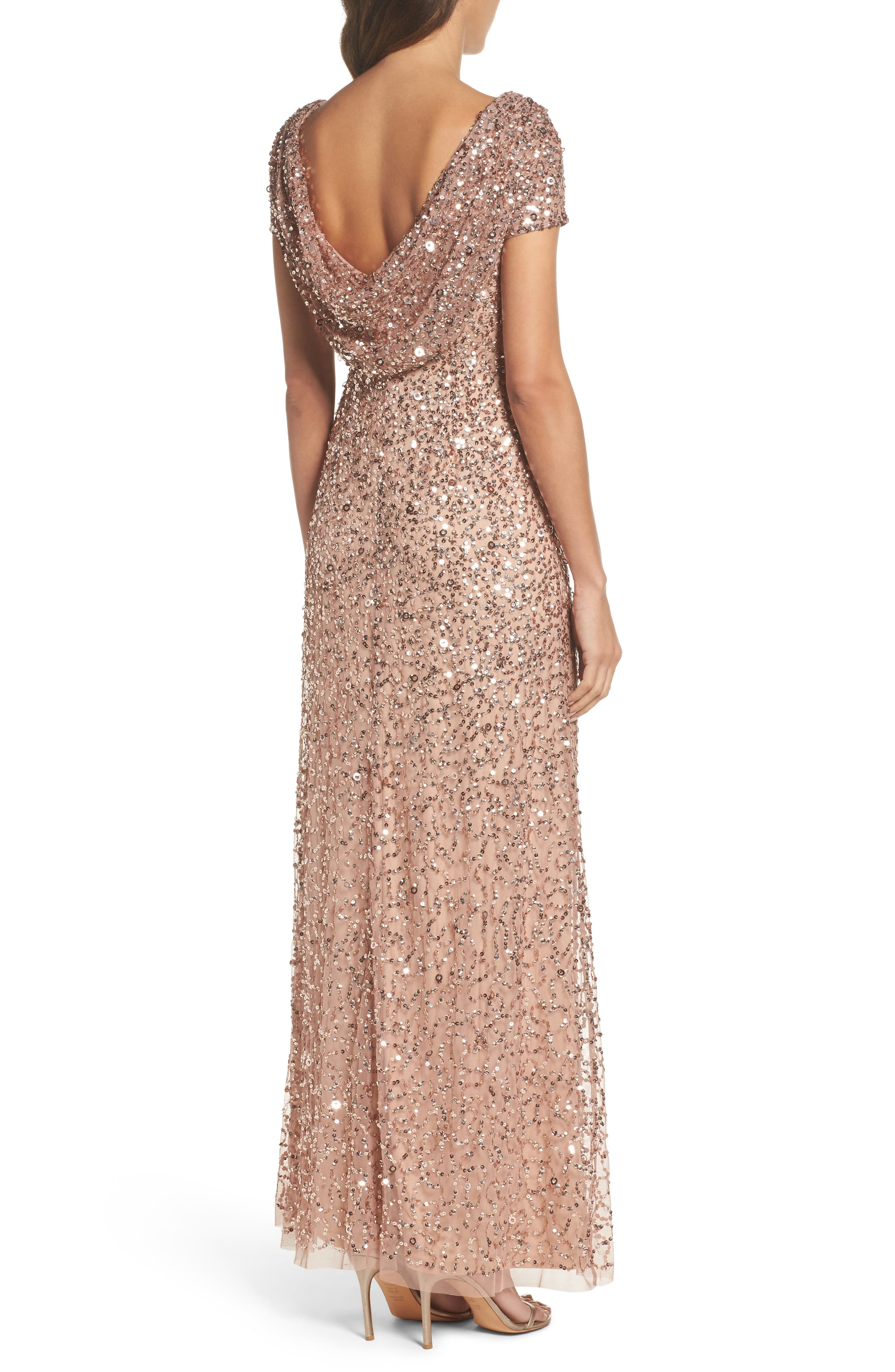 Alternate Image 2  - Adrianna Papell Sequin Cowl Back Gown (Regular & Petite)
