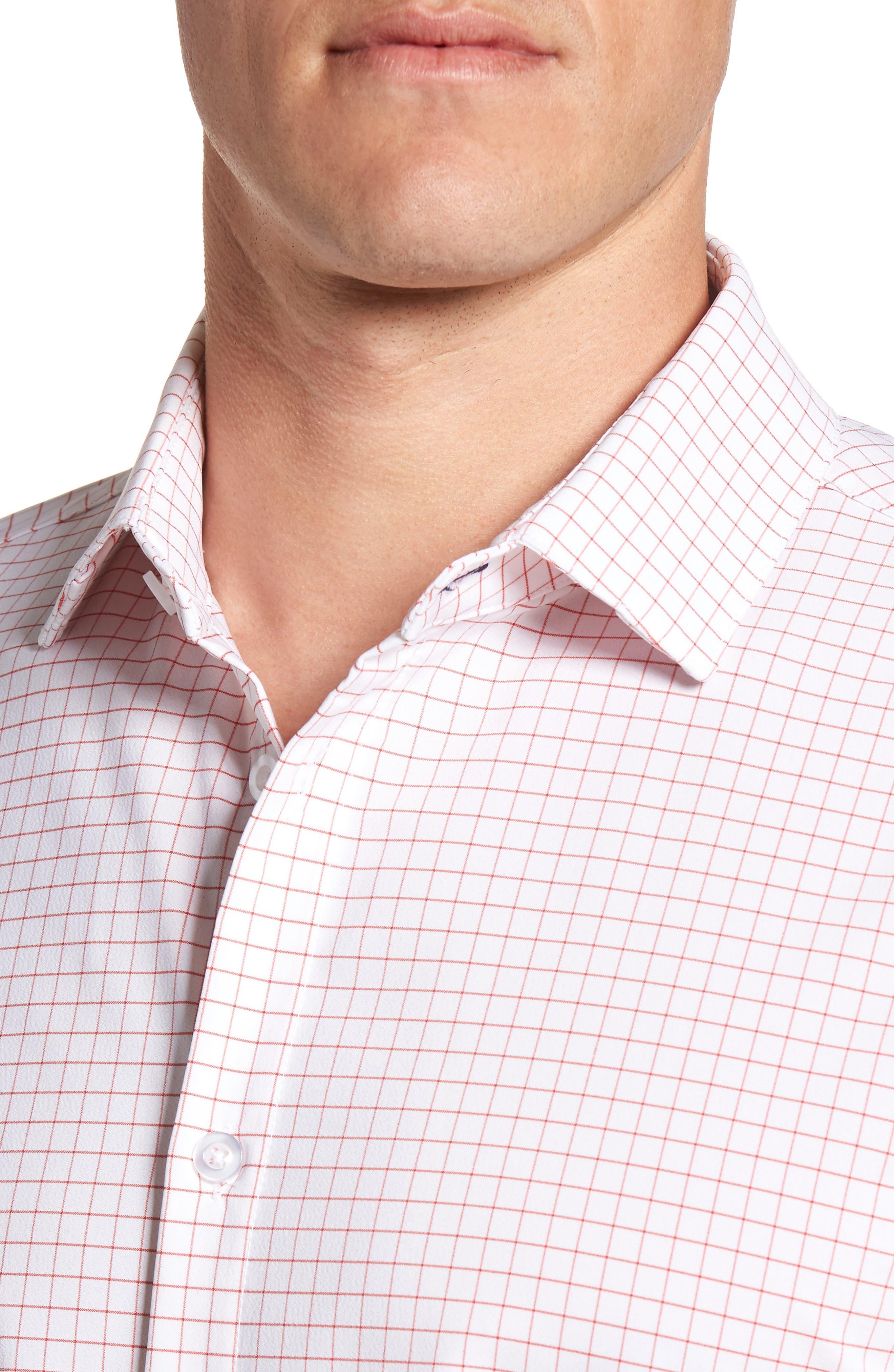 Norwalk Windowpane Performance Sport Shirt,                             Alternate thumbnail 4, color,                             Red