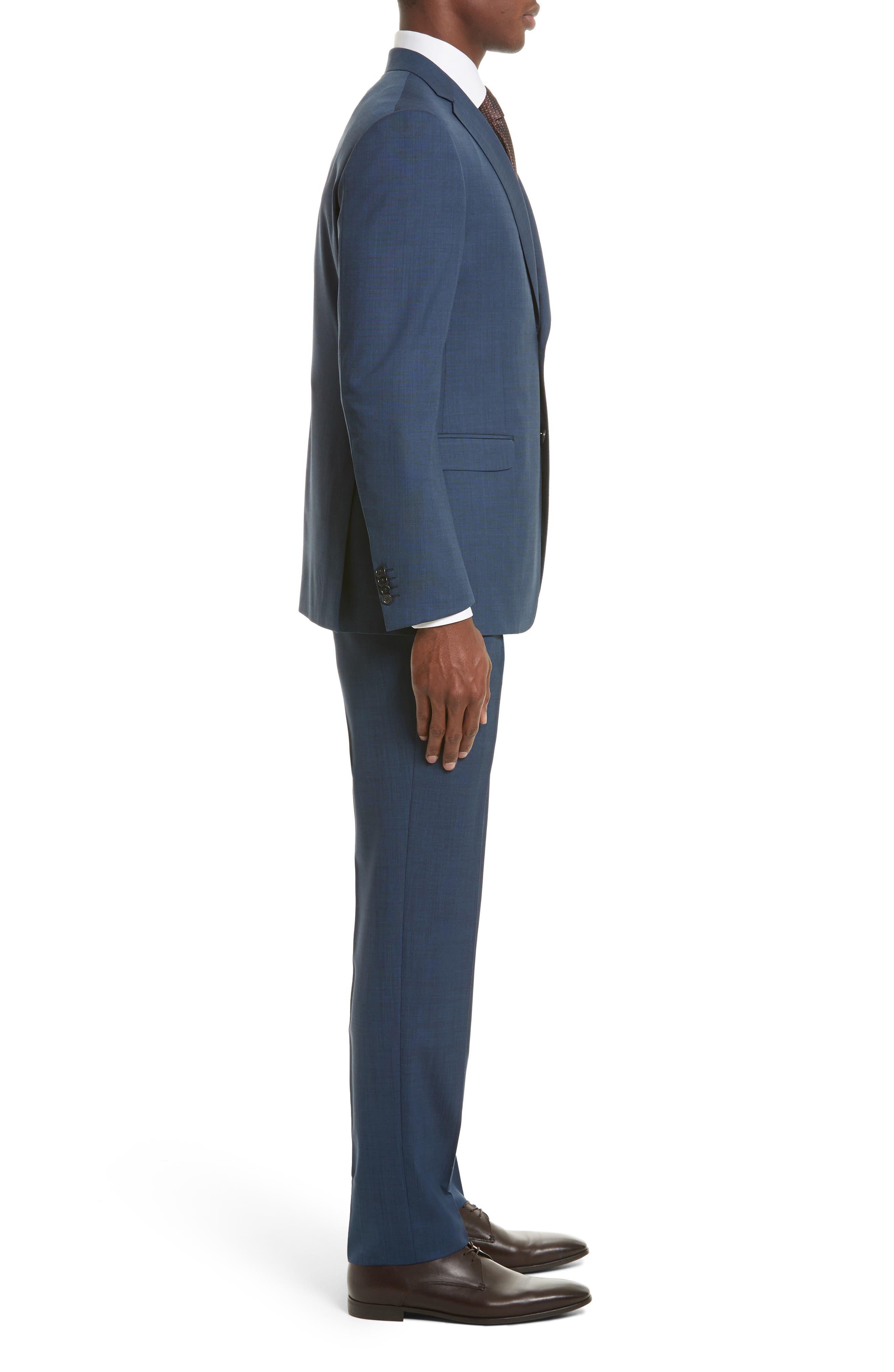 Drop 7 Trim Fit Solid Wool & Silk Suit,                             Alternate thumbnail 3, color,                             Navy