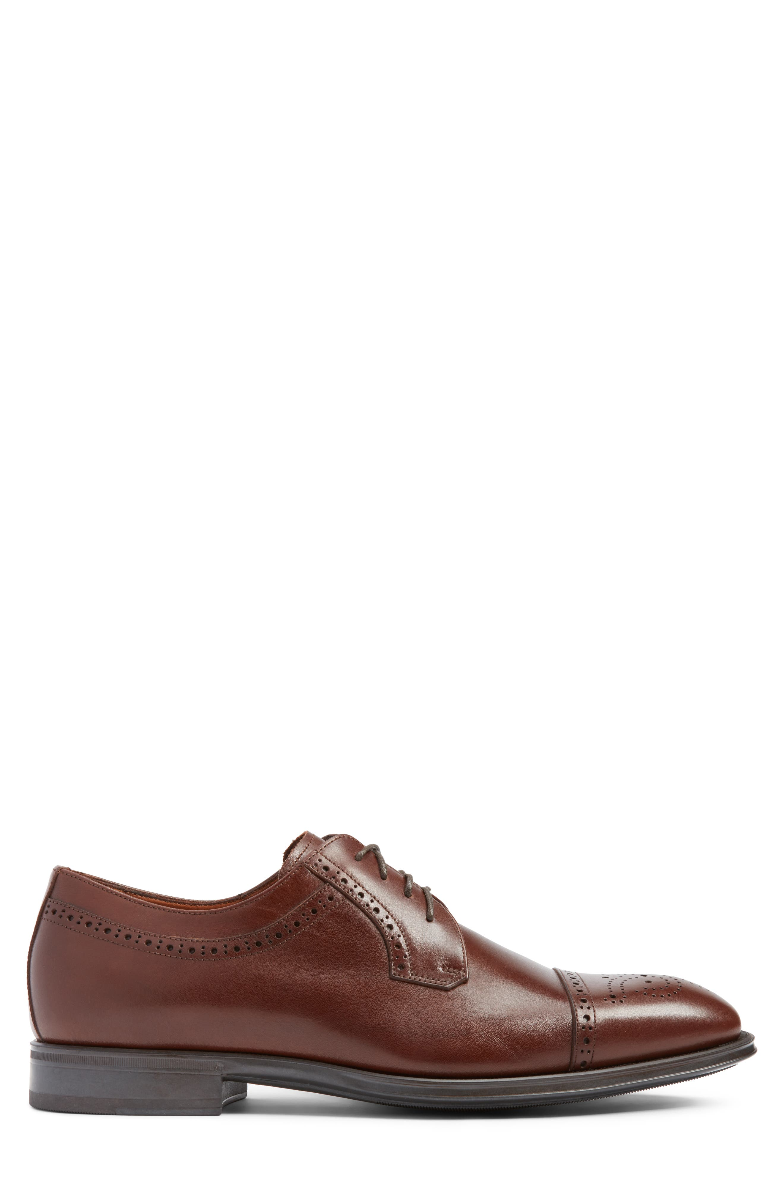 Duke Medallion Toe Derby,                             Alternate thumbnail 3, color,                             Burnished Cognac Leather