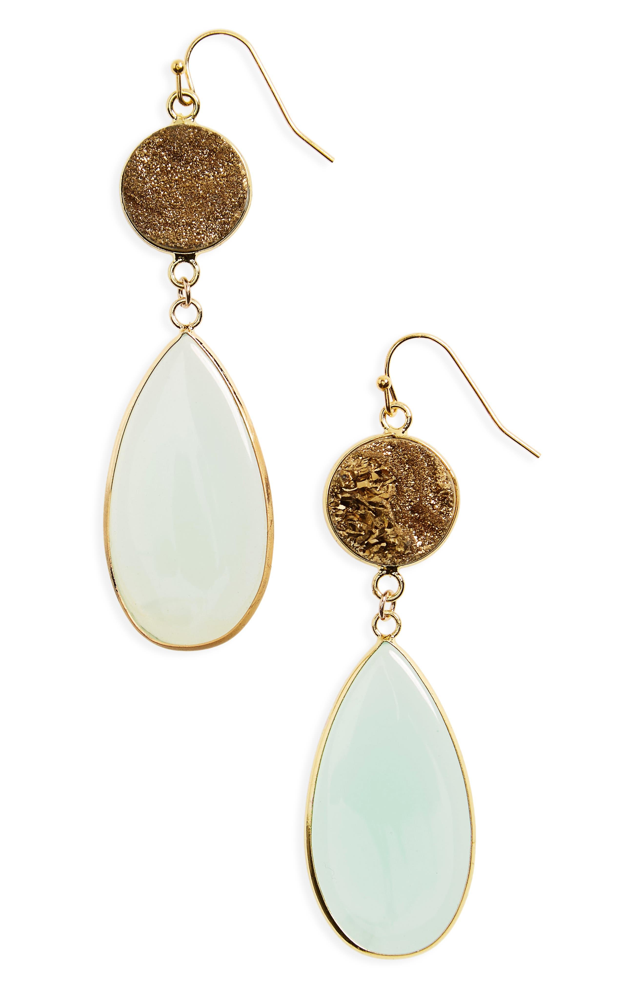 PANACEA Drusy Stone Drop Earrings