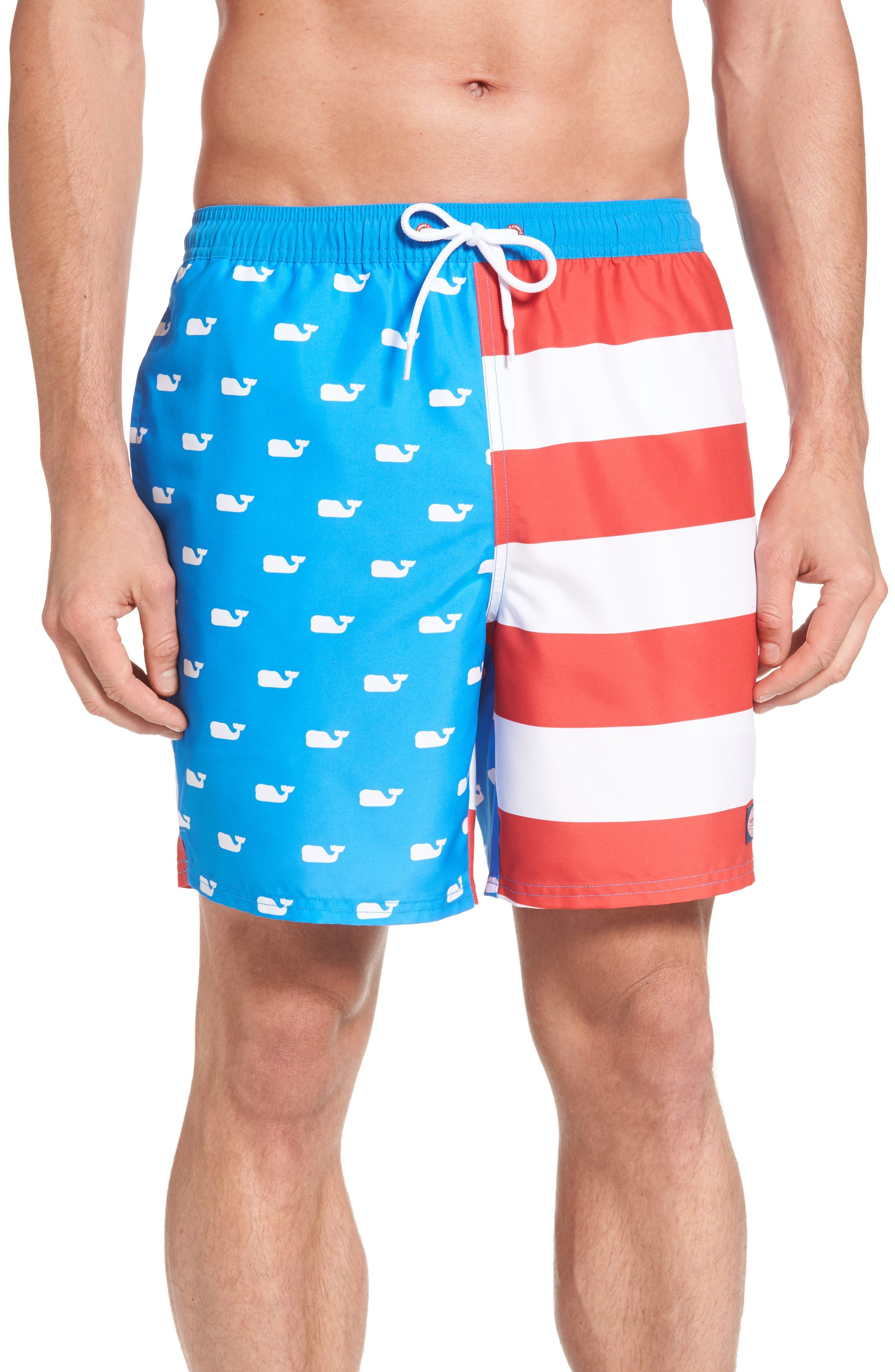 Whale Flag Chappy Swim Trunks,                         Main,                         color, Azure Blue
