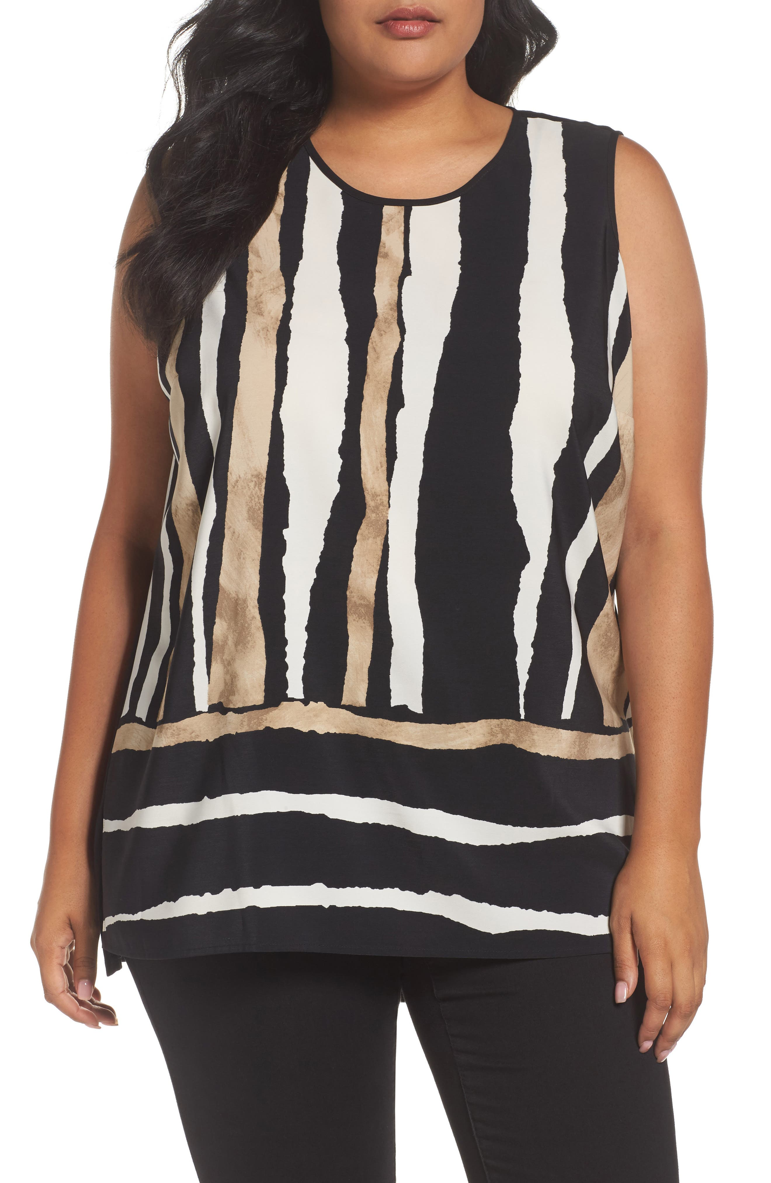 Main Image - Vince Camuto Linear Terrain Mixed Media Top (Plus Size)