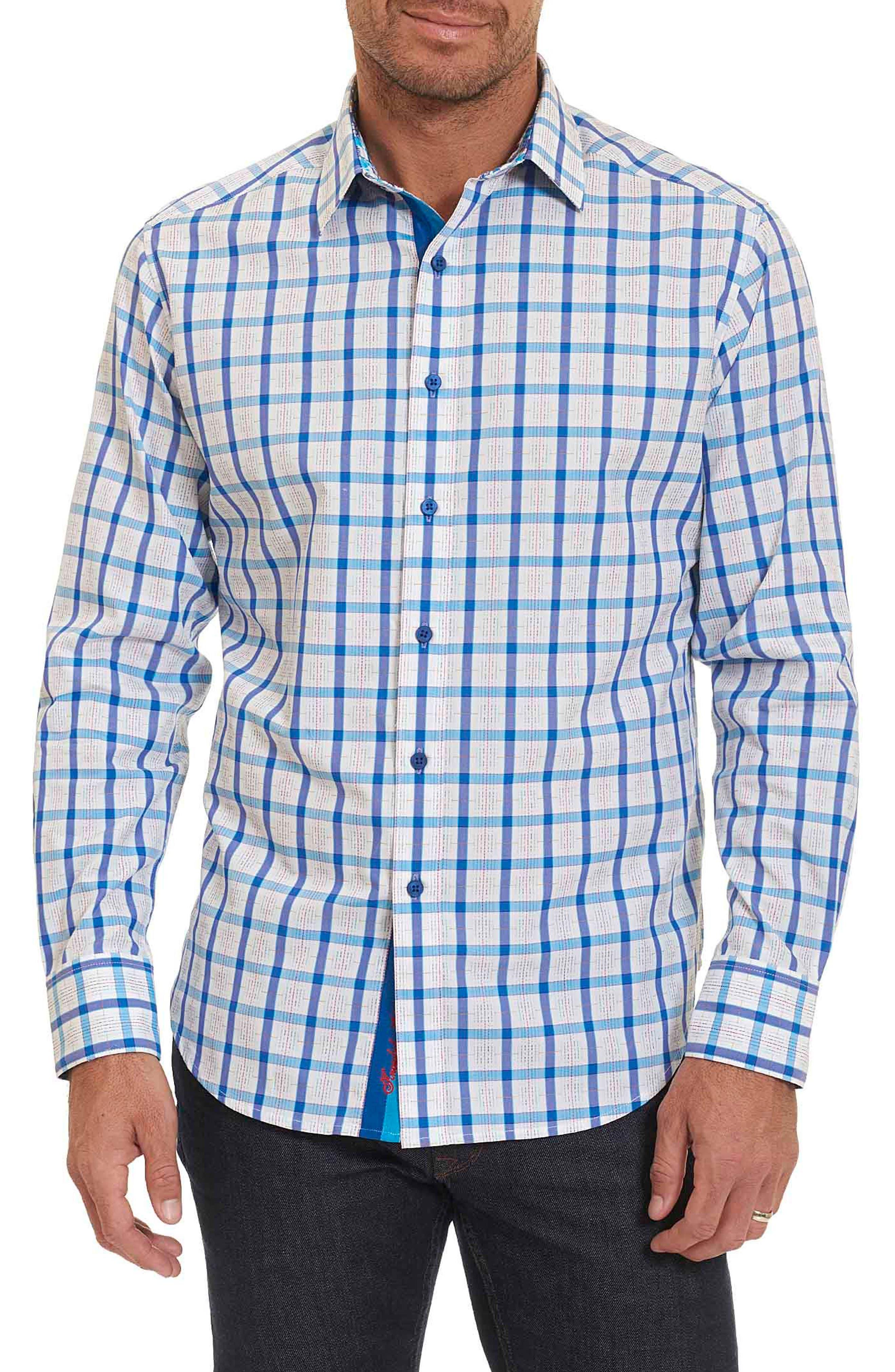 Classic Fit Check Sport Shirt,                         Main,                         color, Blue