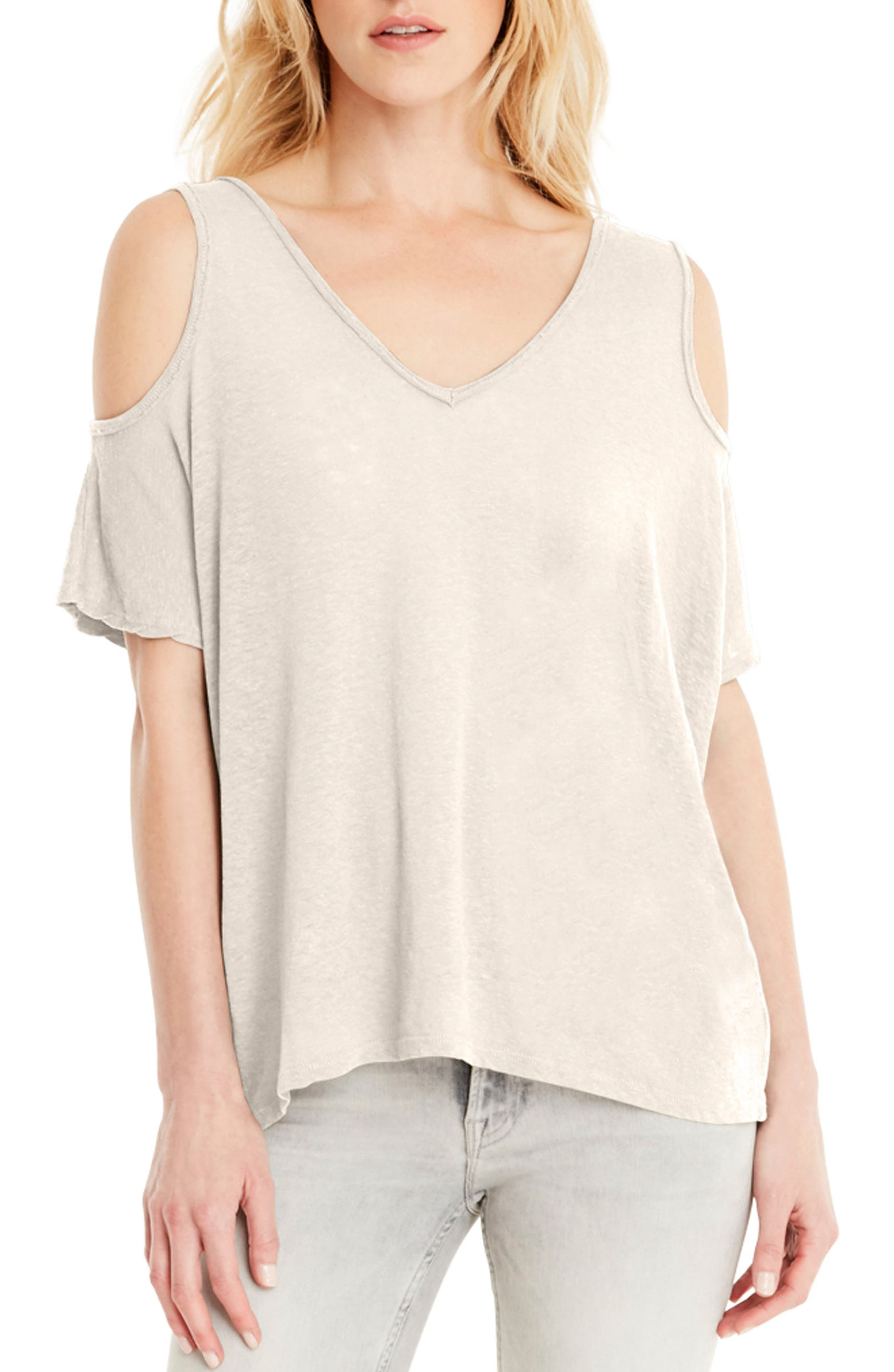 Cold Shoulder Tee,                         Main,                         color, Chalk