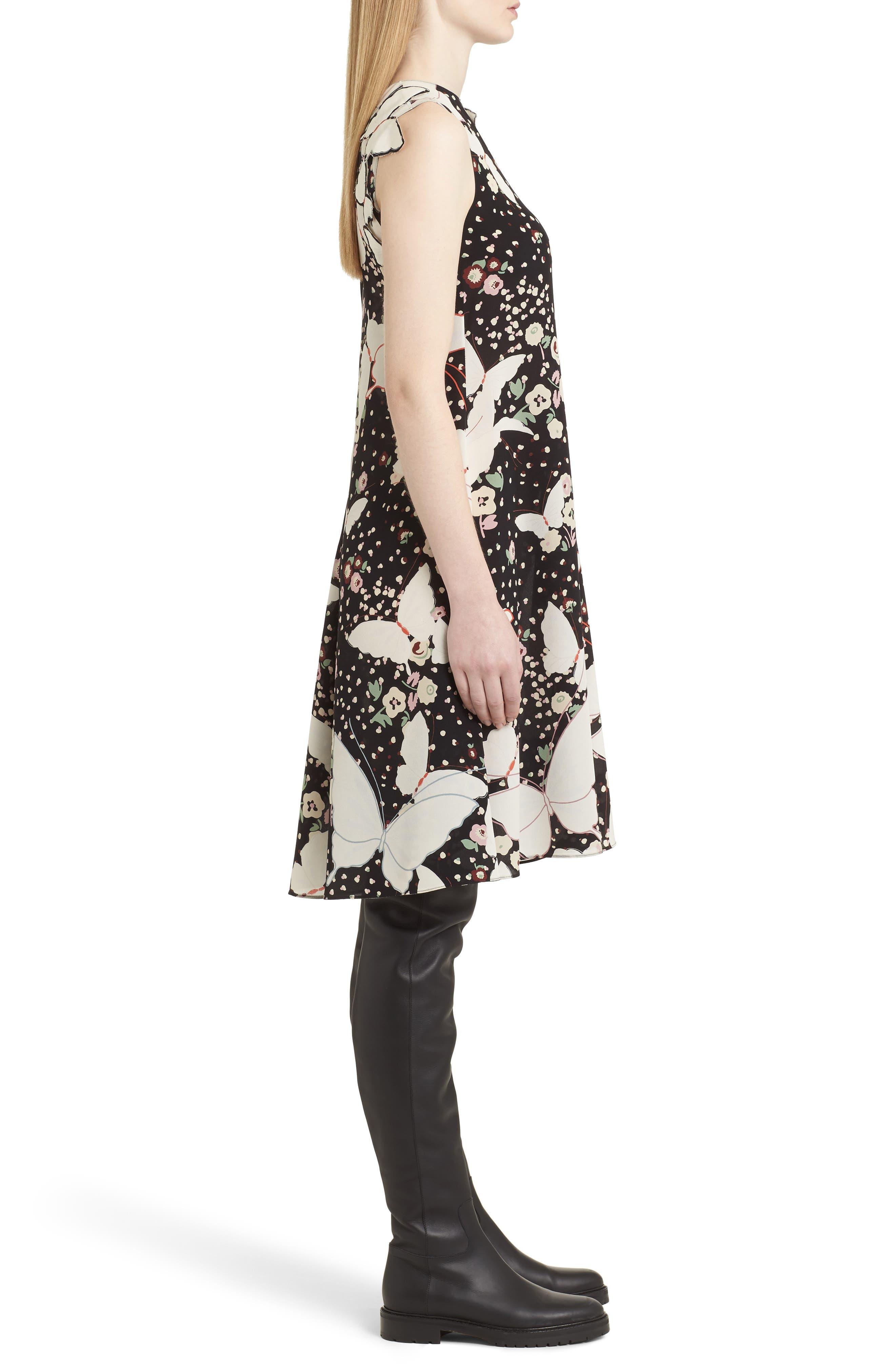 Alternate Image 4  - Valentino Pop Butterfly Appliqué Silk Crêpe de Chine Dress