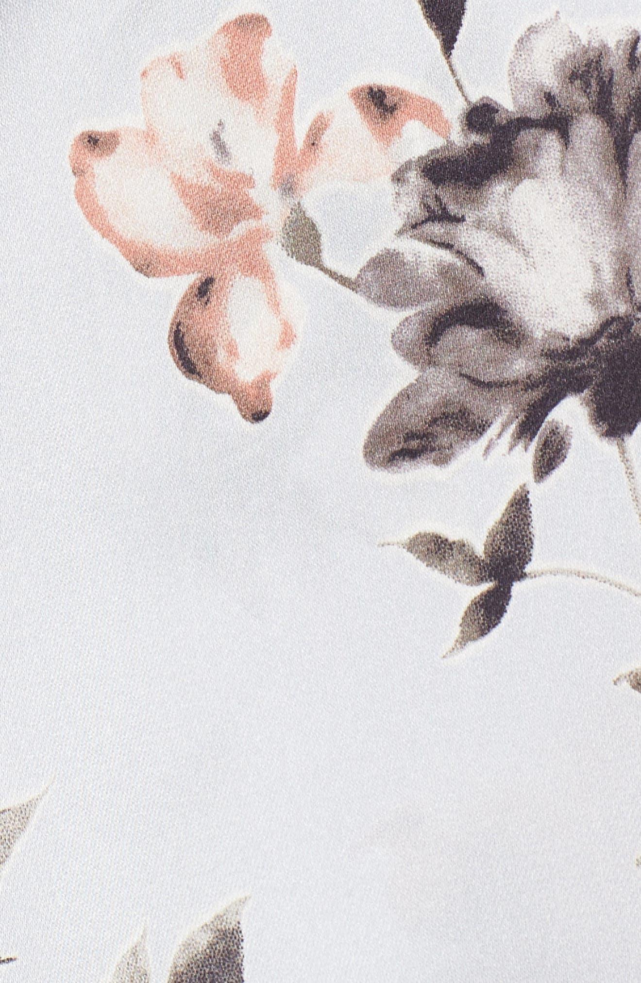 Satin Wrap Top,                             Alternate thumbnail 5, color,                             Blue Ice Floral